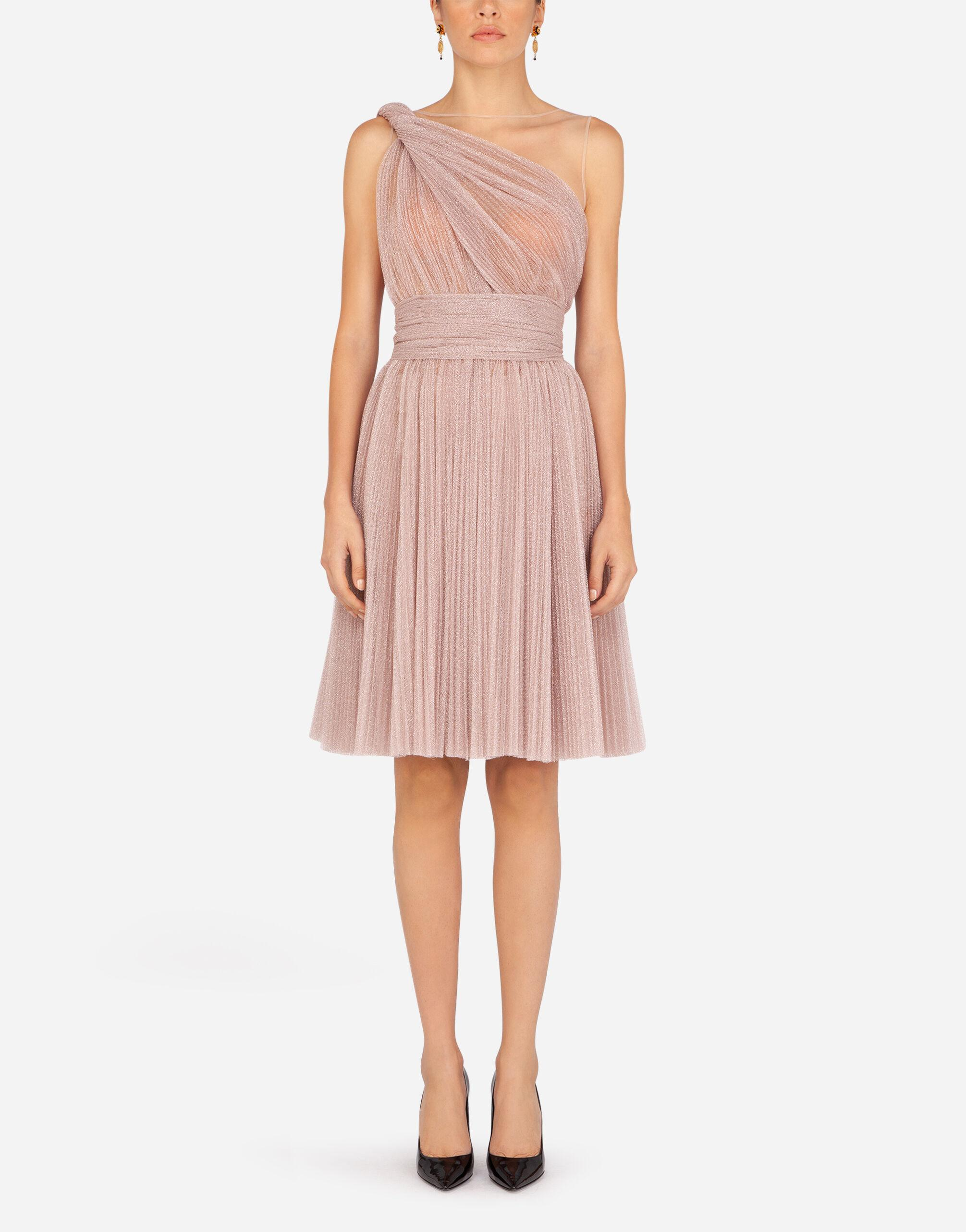 One-shoulder midi dress in pleated lamé tulle
