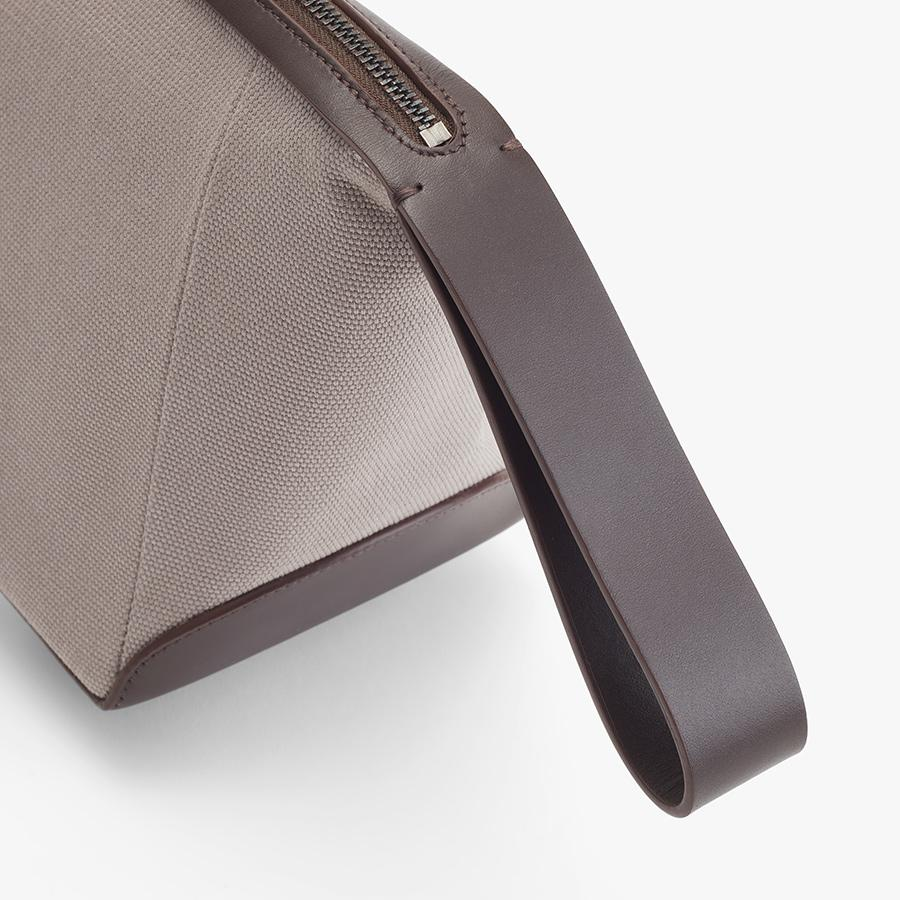 Women's Travel Zipper Pouch in Soft Grey/Dark Brown | Canvas & Smooth Leather by Cuyana 4