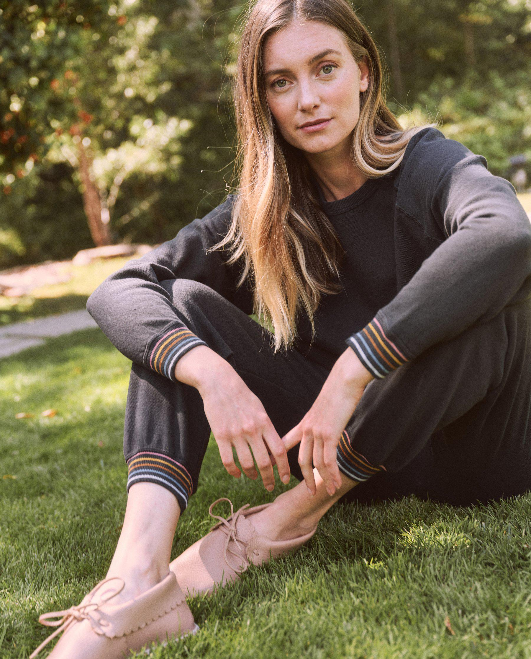 The Cropped Sweatpant. Novelty -- Almost Black with Striped Rib 1