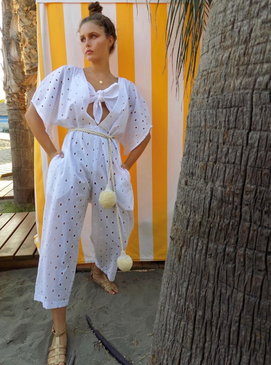 White eyelet jumpsuit with bra top