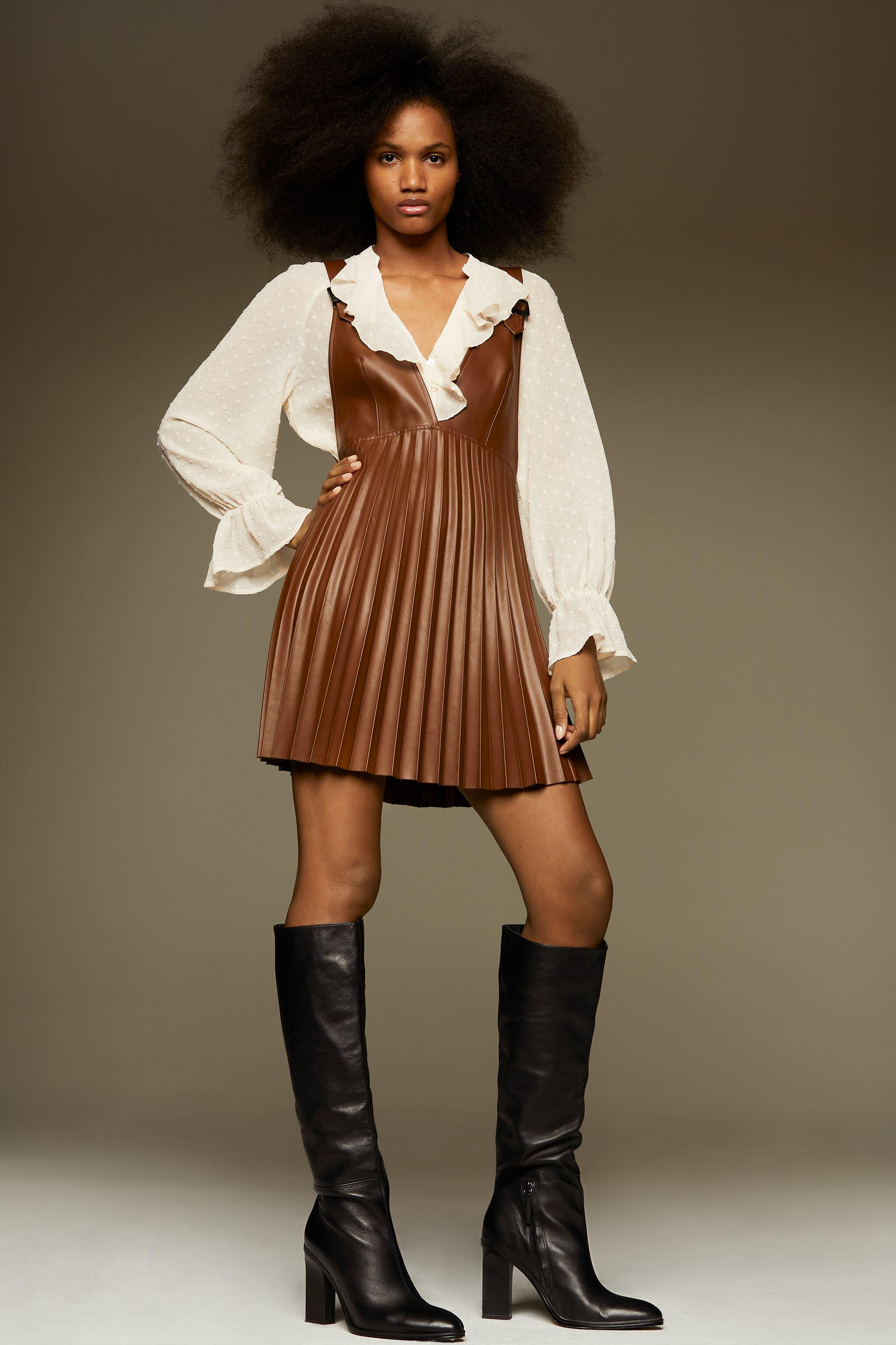 FAUX LEATHER PINAFORE SKIRT