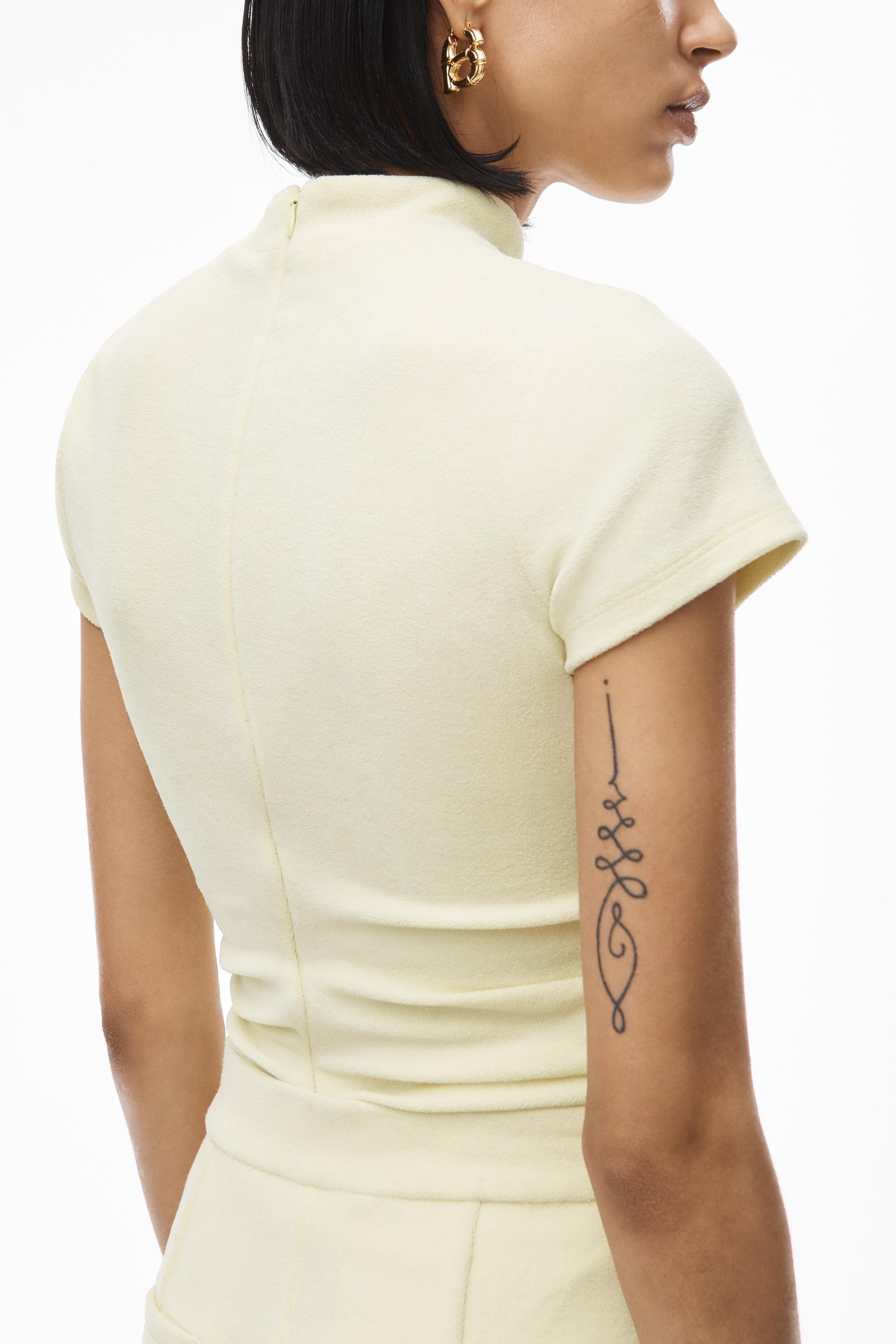 mock neck top in ruched velour tailoring 4