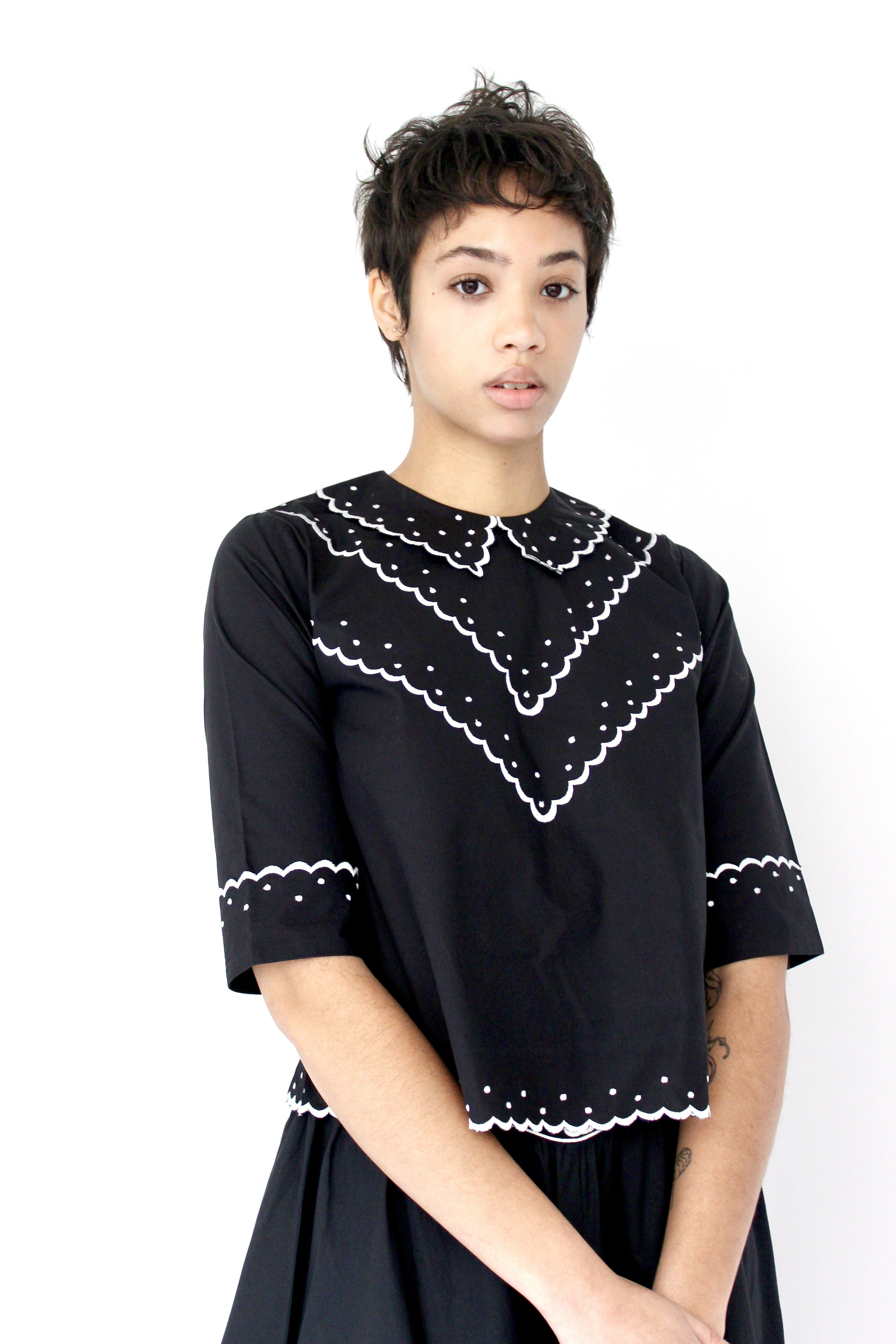 Shirley Blouse in Black with Cream Embroidery