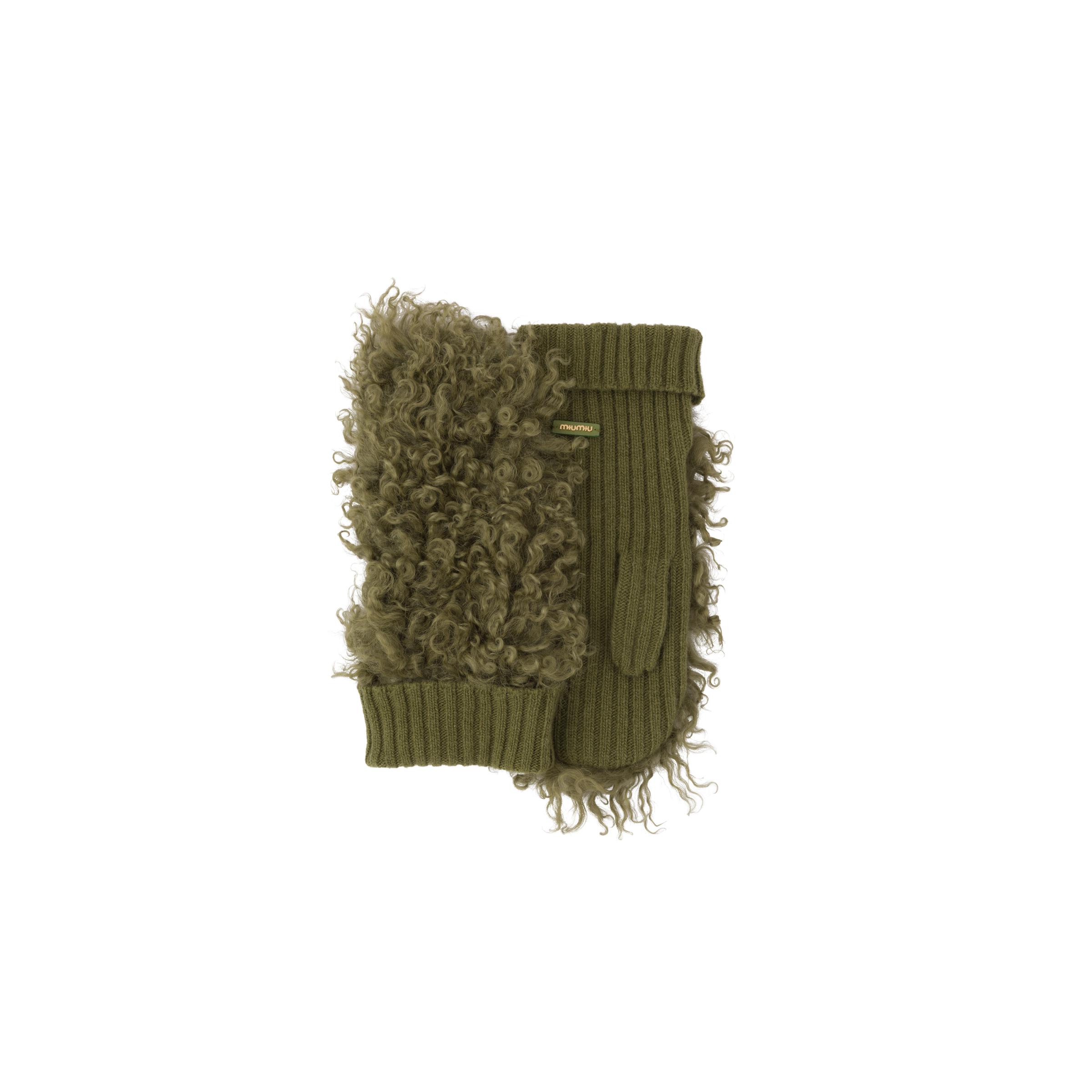 Knit And Shearling Gloves Women Military Green