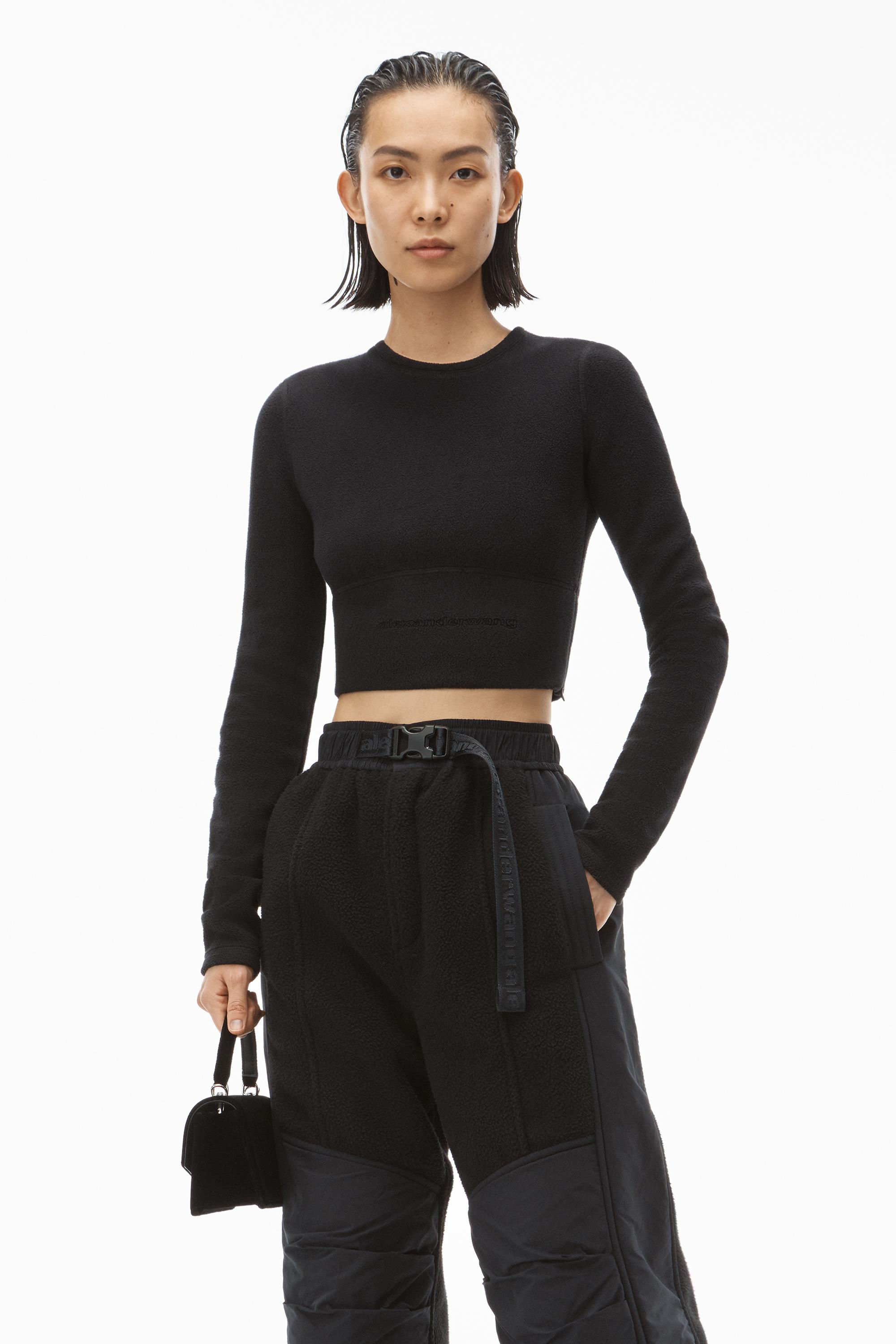 long-sleeve crewneck top in thermo stretch knit