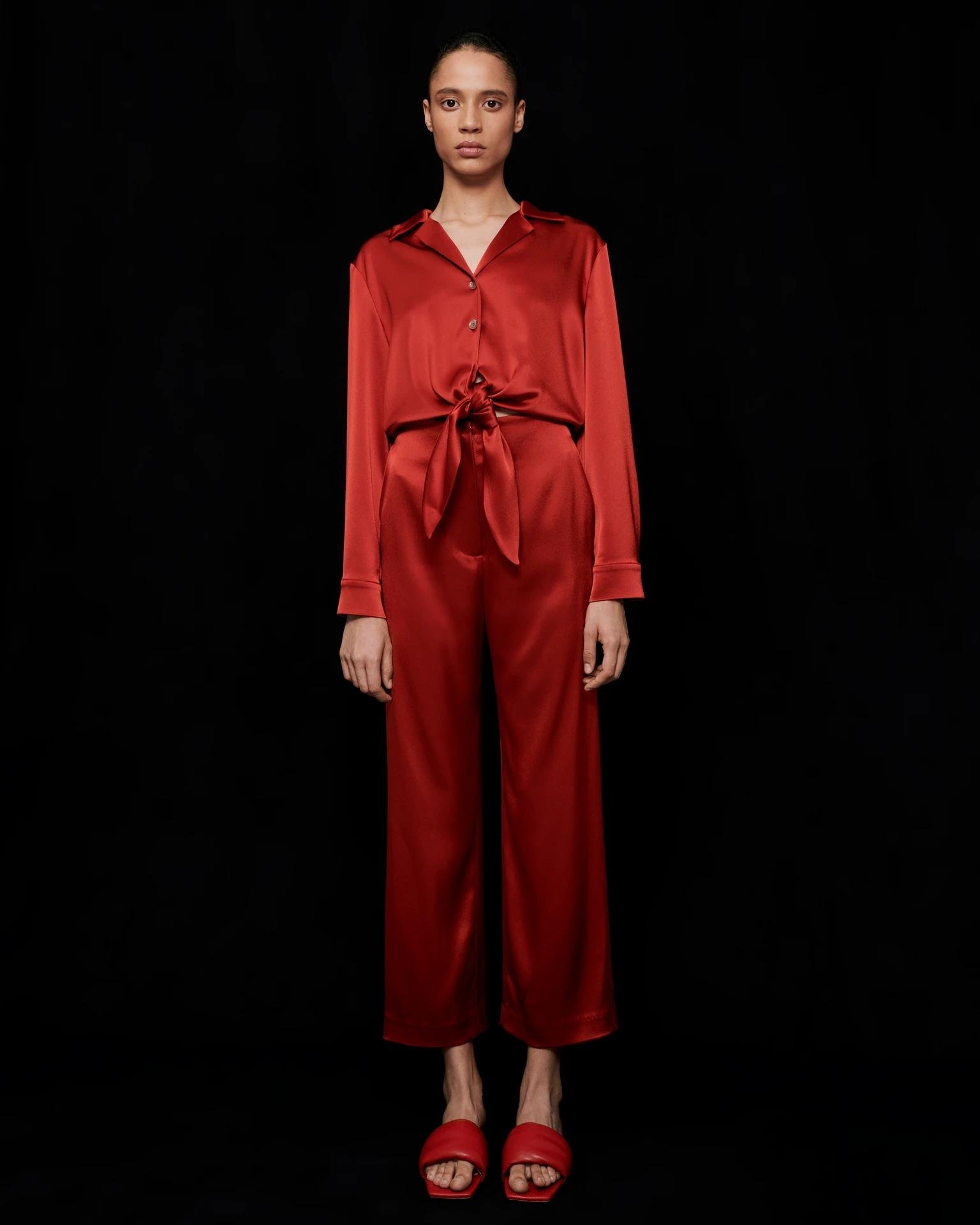 TANYA - Cut-out slip satin jumpsuit - Red