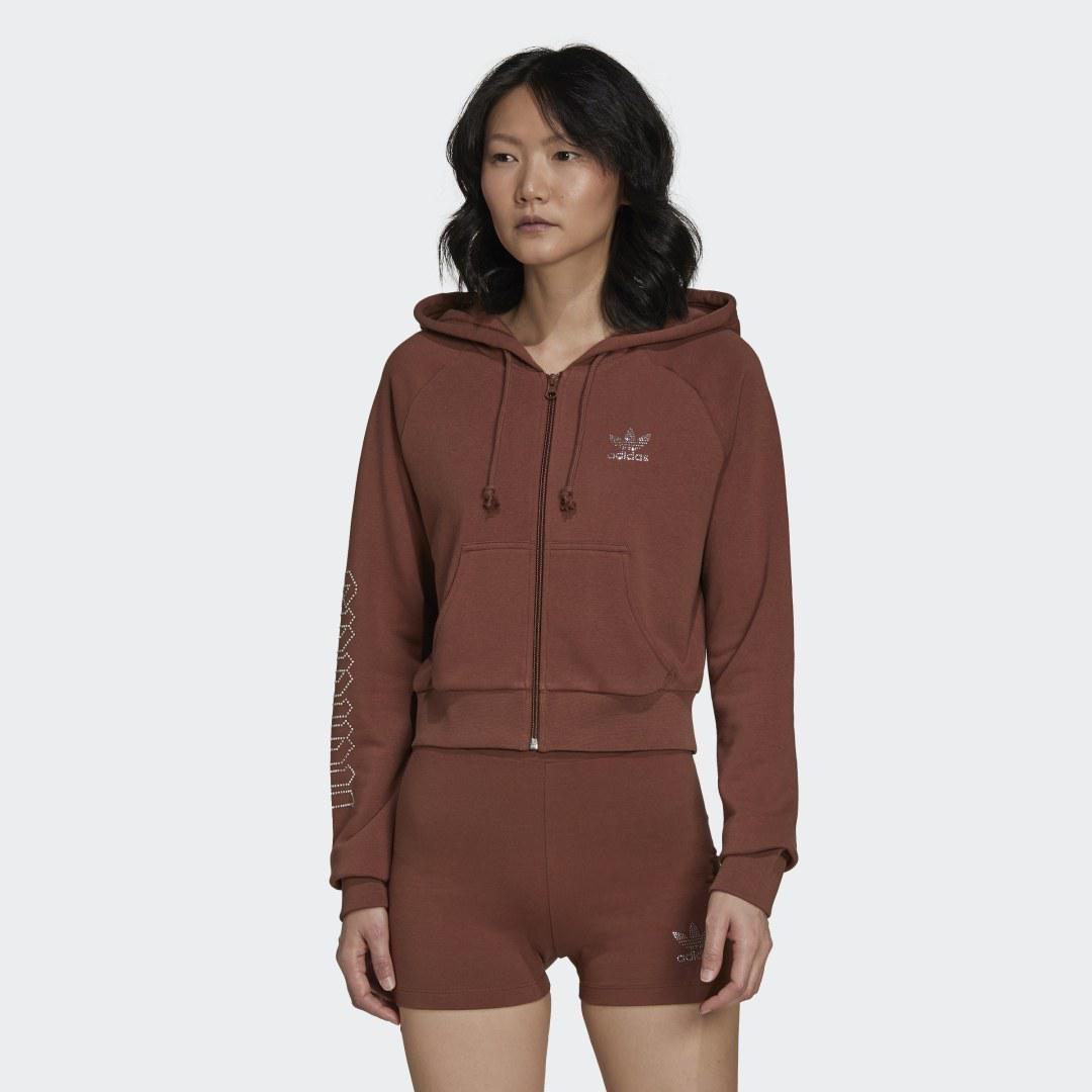2000 Luxe Cropped Track Top Earth Brown