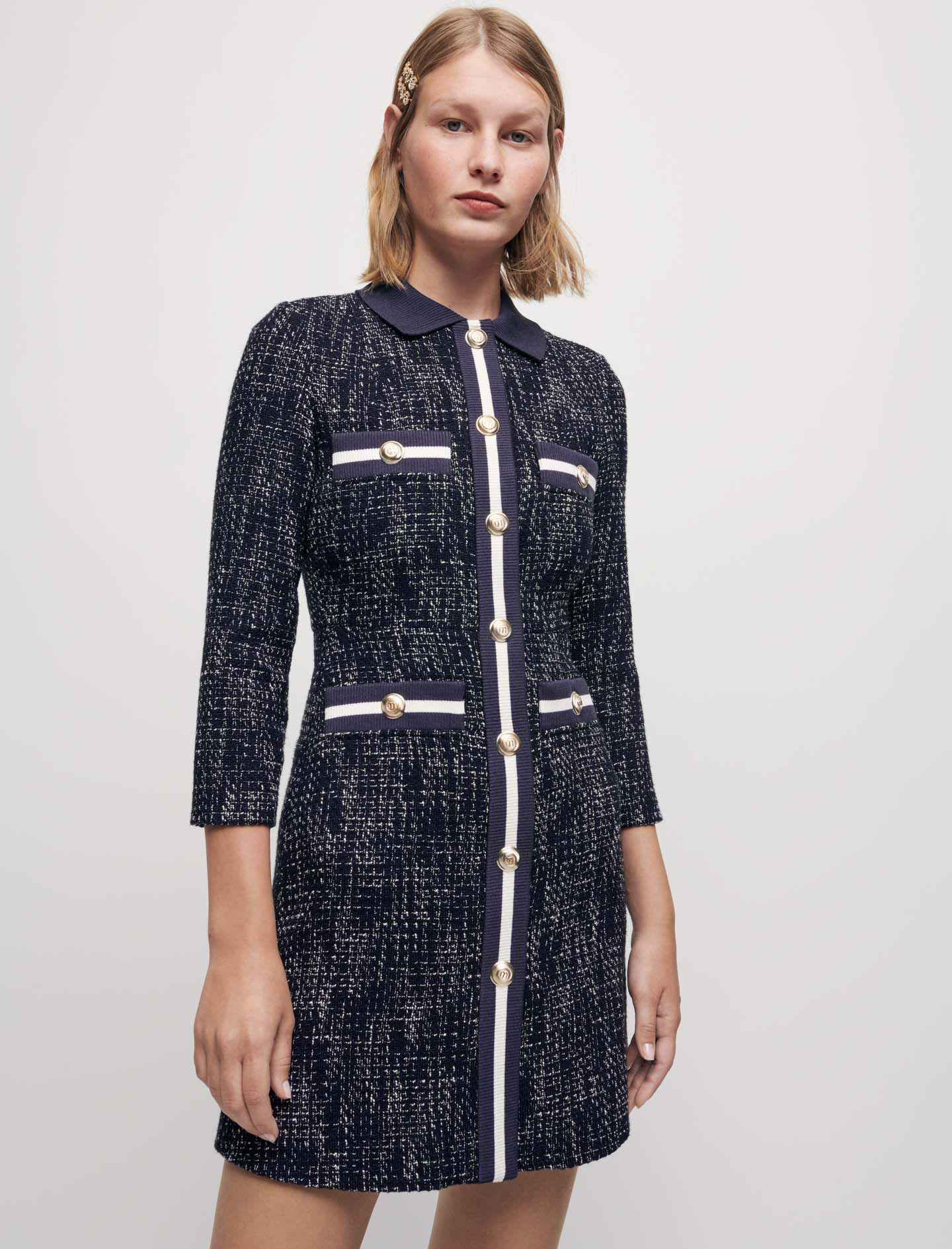 TWEED-STYLE DRESS WITH CONTRASTING BANDS