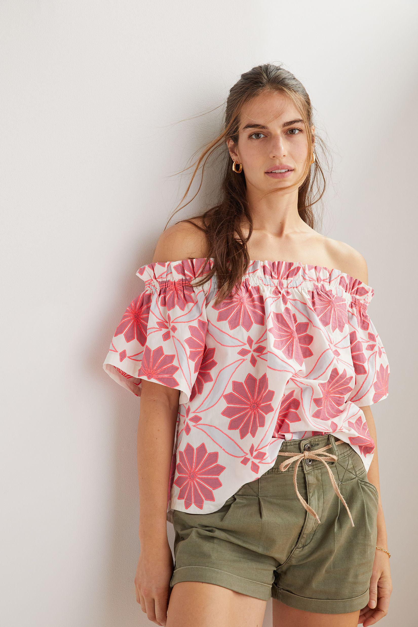 Maeve Embroidered Off-The-Shoulder Blouse