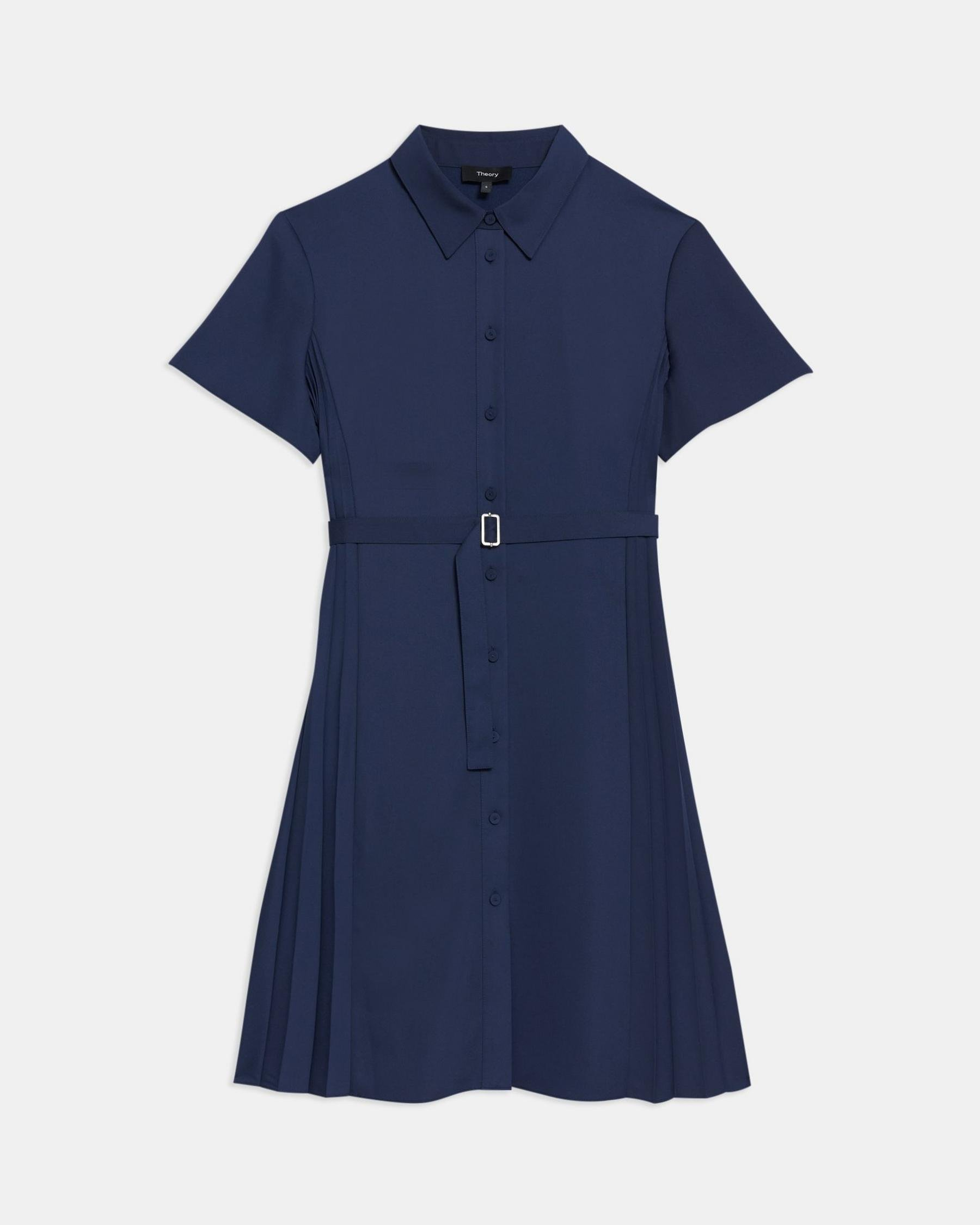 Pleated Short-Sleeve Shirtdress in Satin Crepe 5