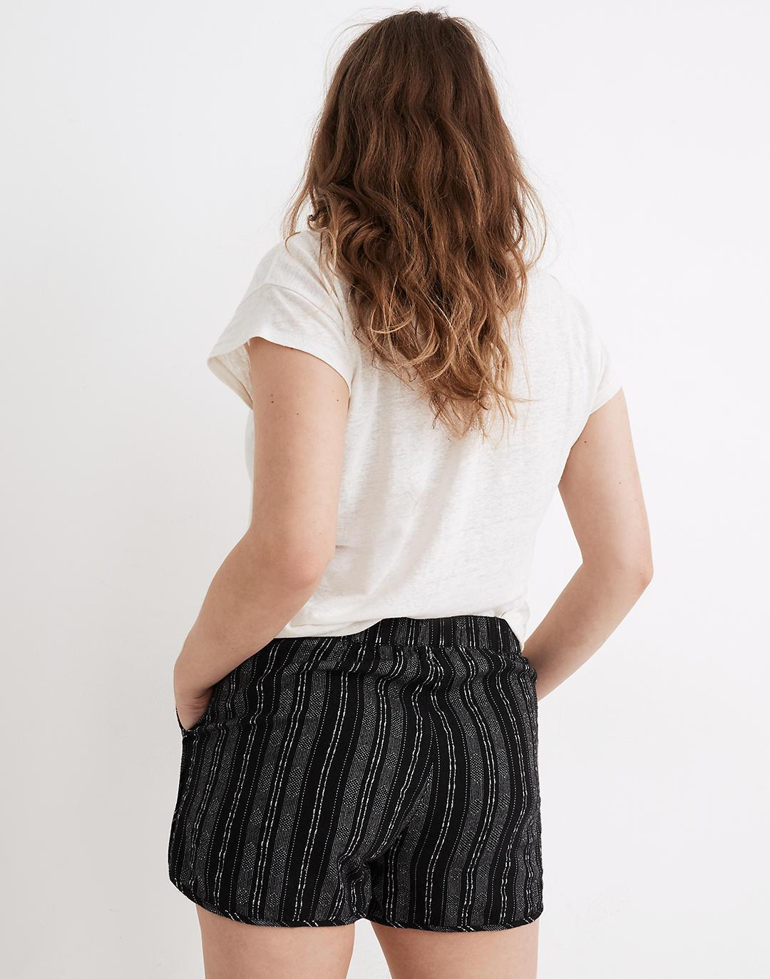 Linen-Cotton Pull-On Shorts in Jacquard Stripe 2