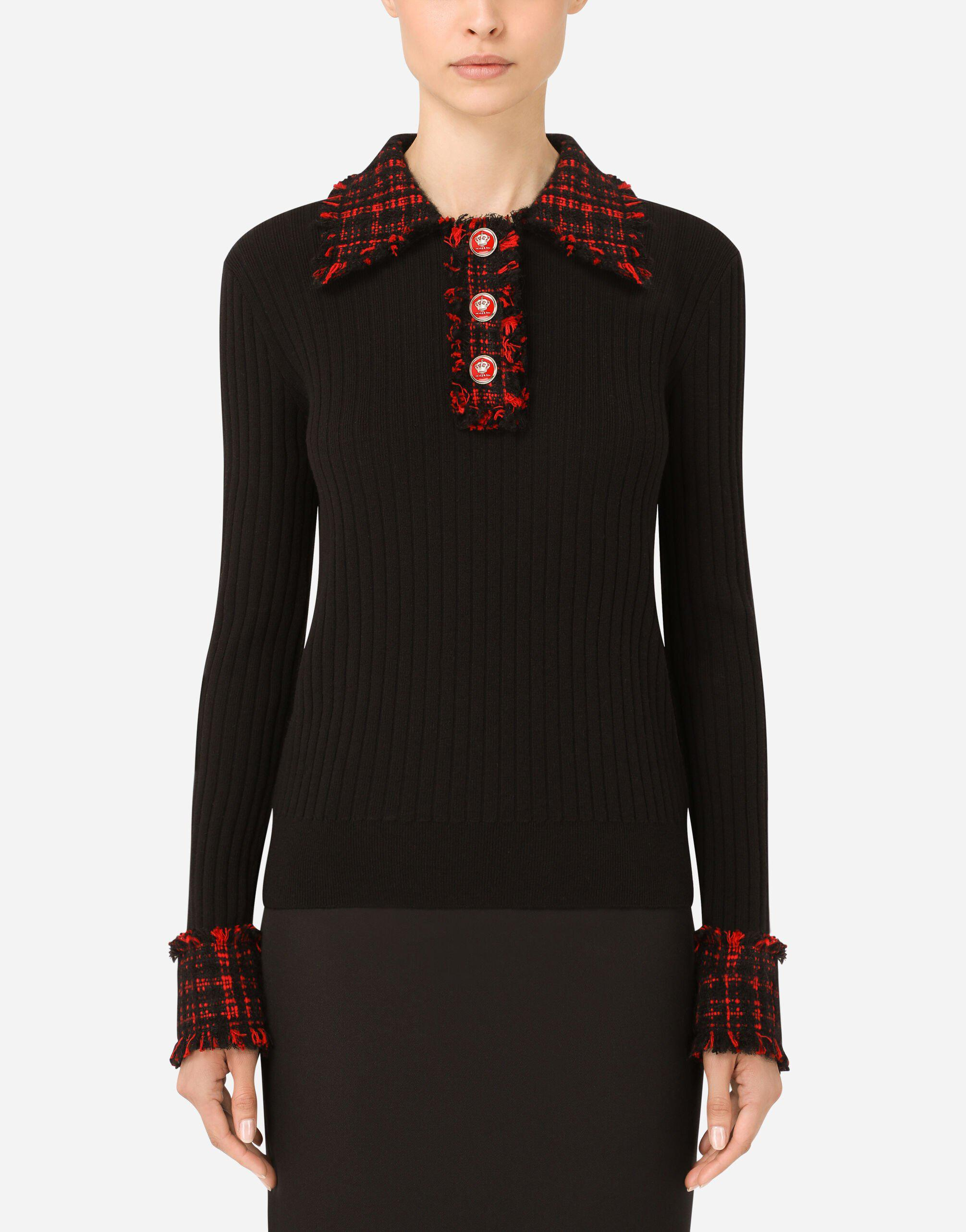 Wool polo shirt with tweed details