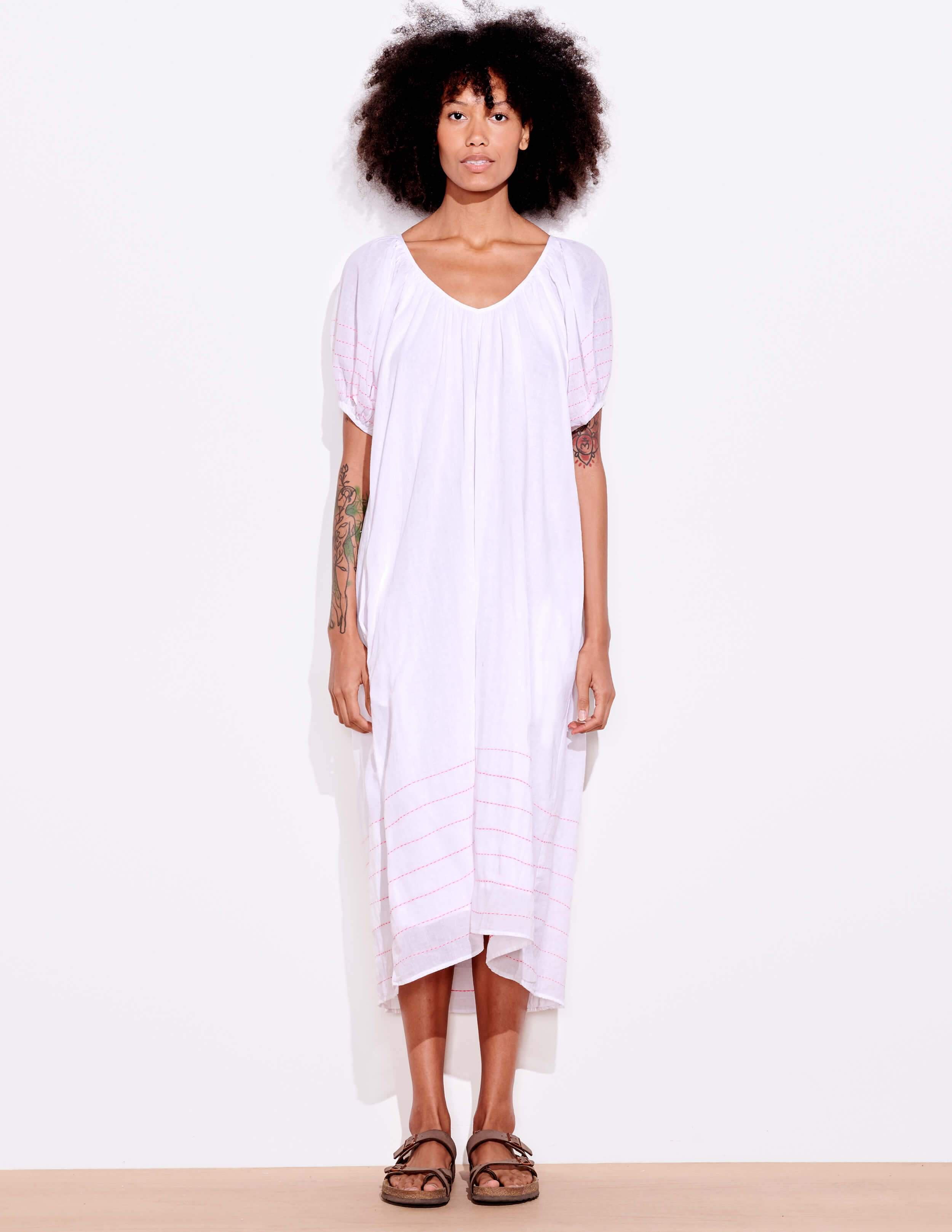 Bubble Sleeve Embroidered Maxi Dress 1