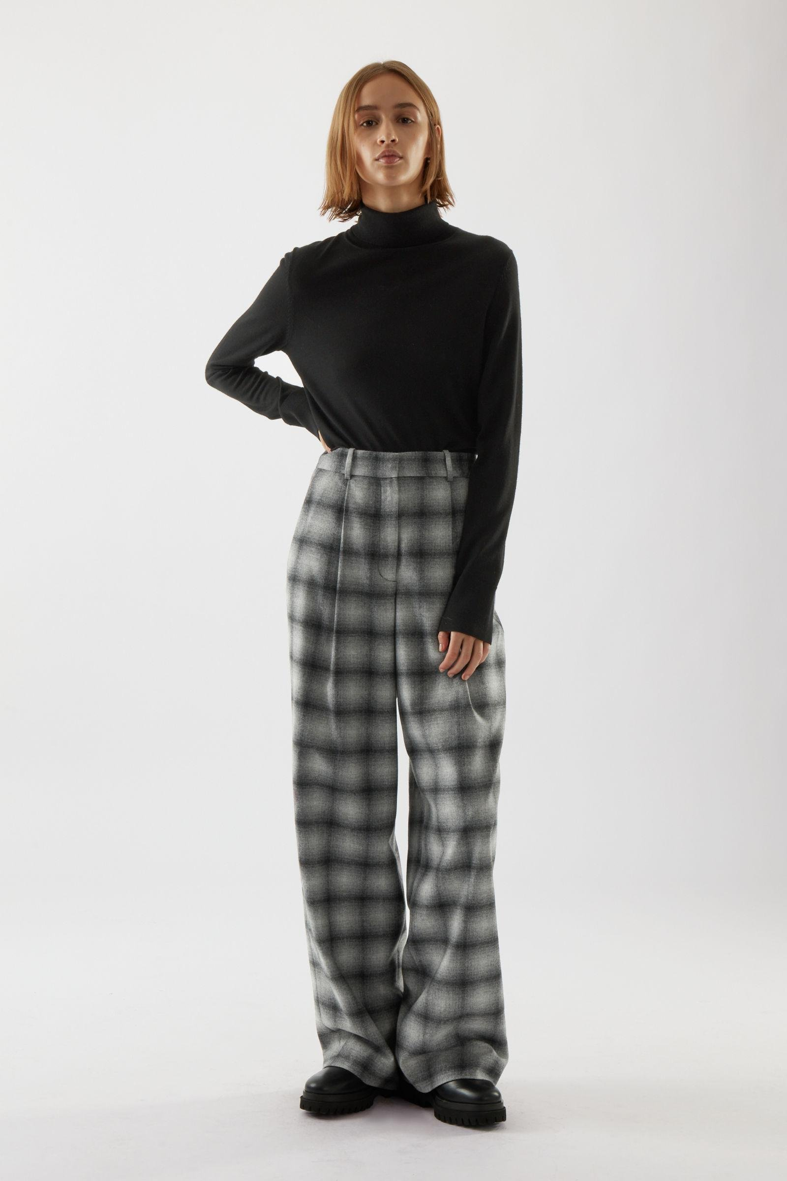RELAXED CHECKED RECYCLED WOOL PANTS