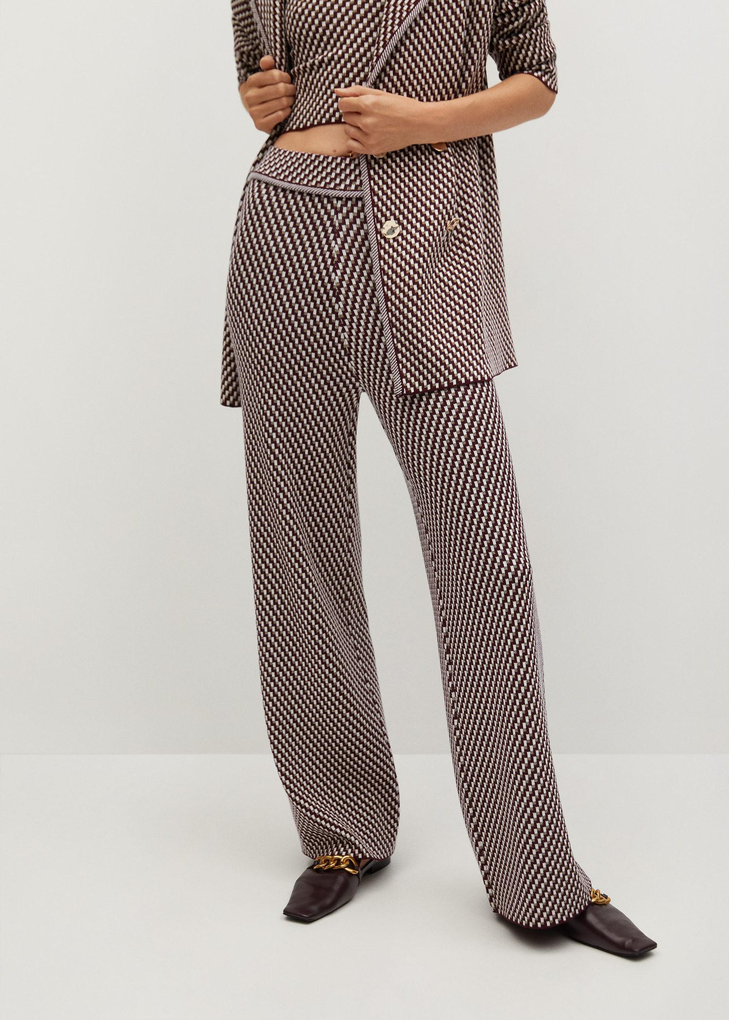 Knitted pants with geometric print 0