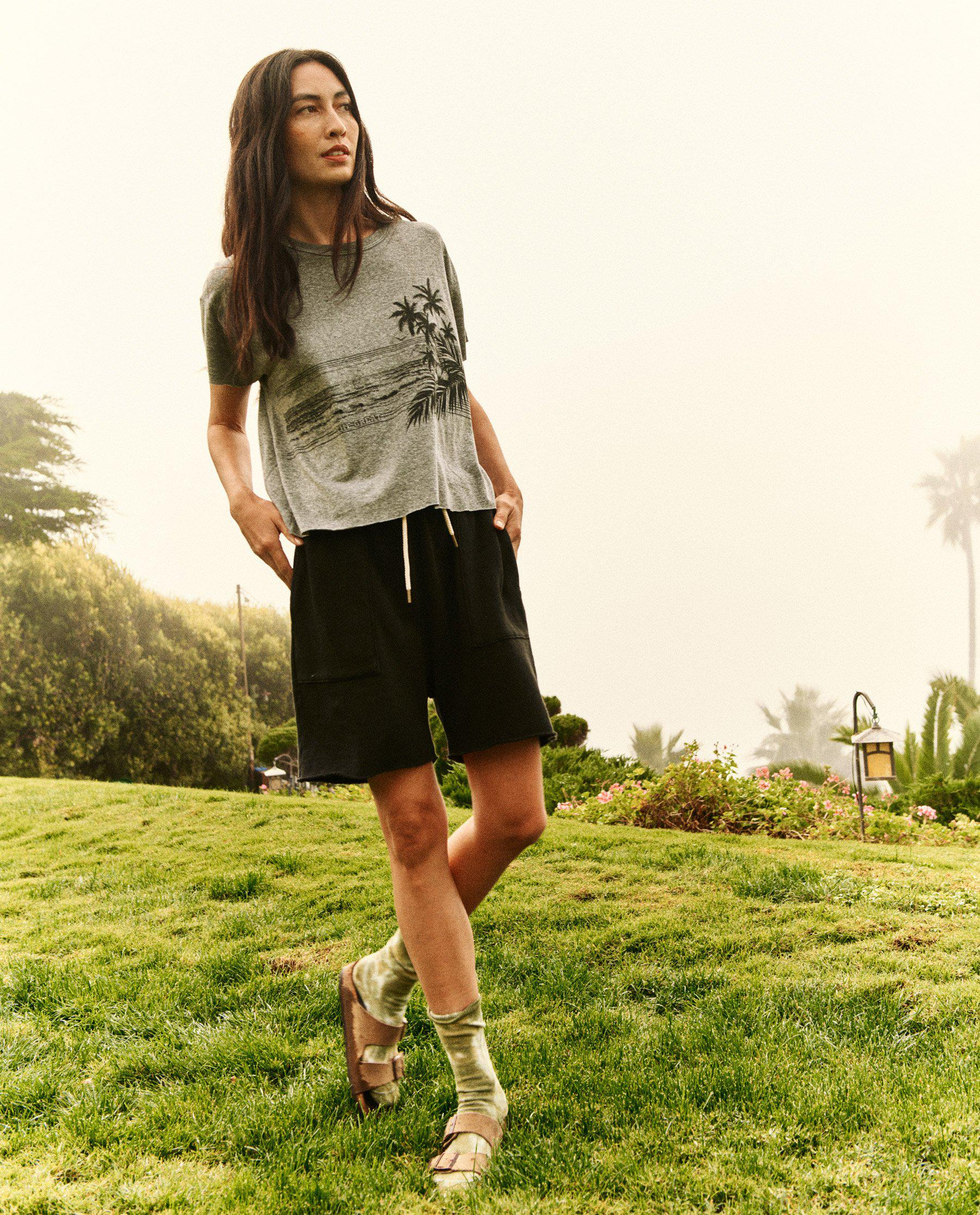 The Crop Tee. Graphic -- Heather Grey with Shoreline Graphic 2