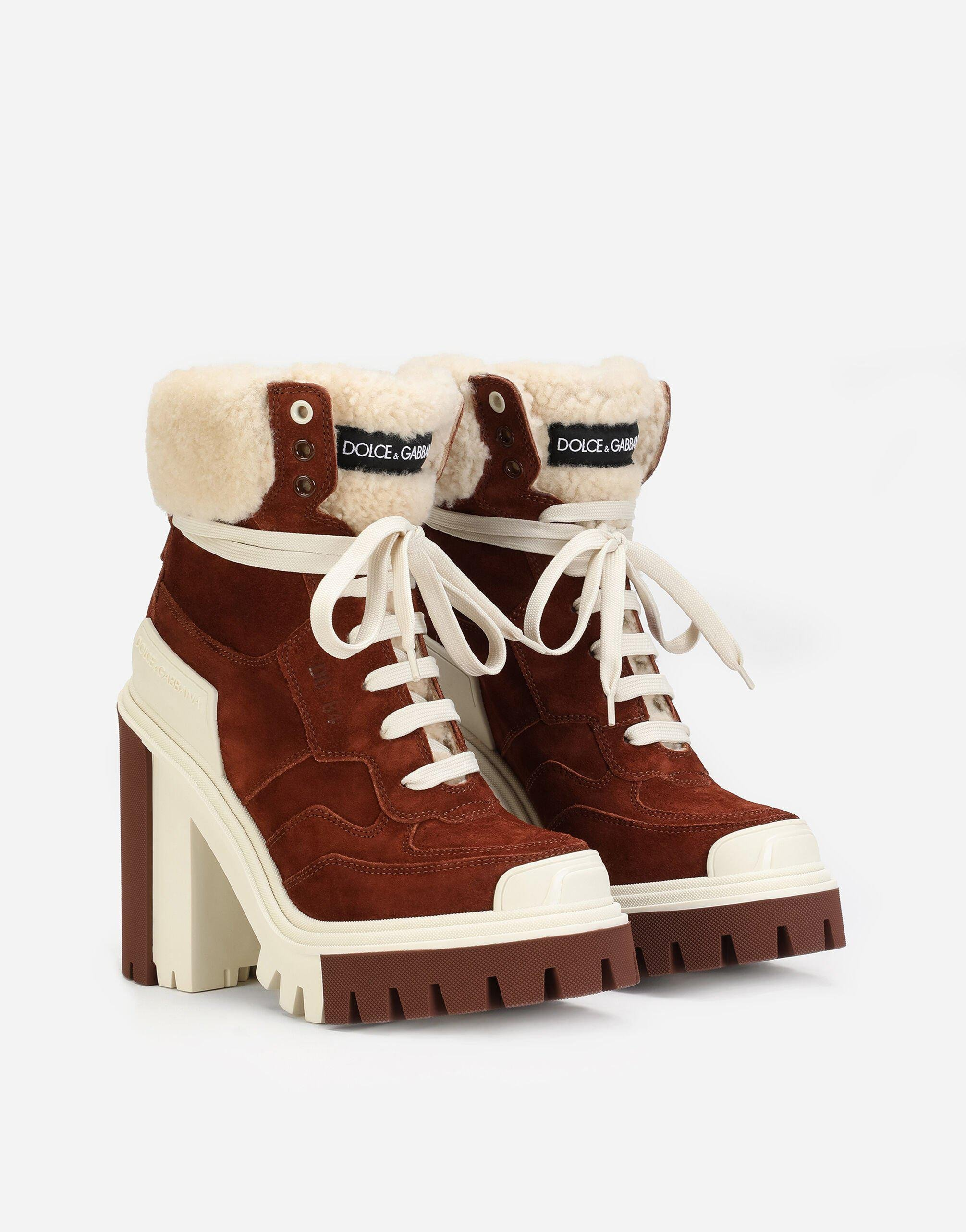 Split-grain leather trekking boots with shearling 1