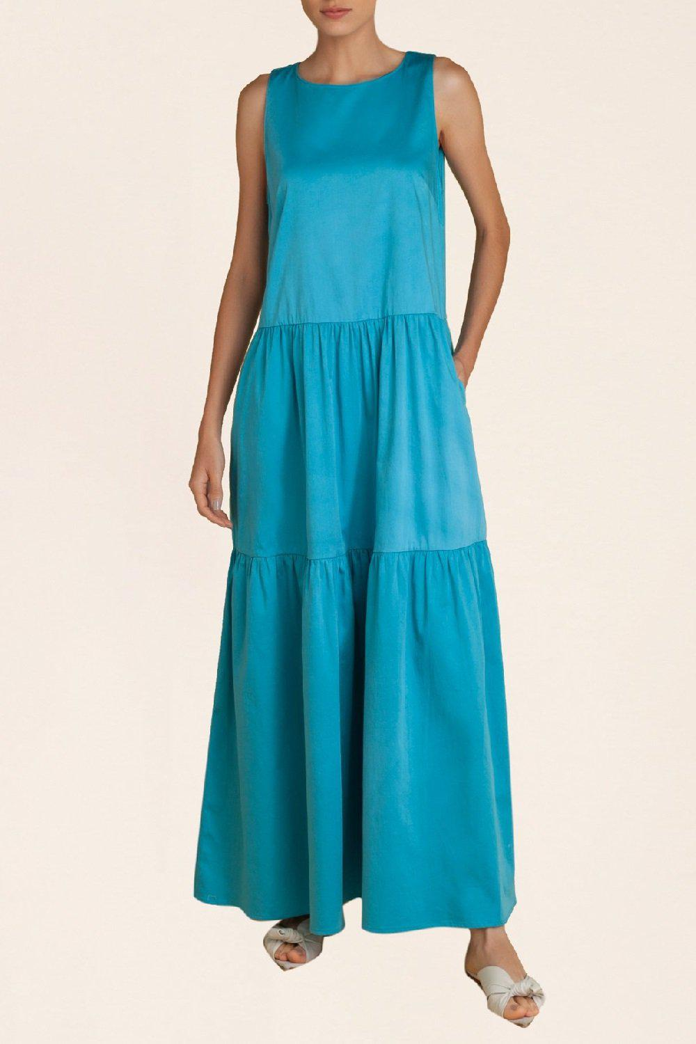 Solid Frilled Long Dress