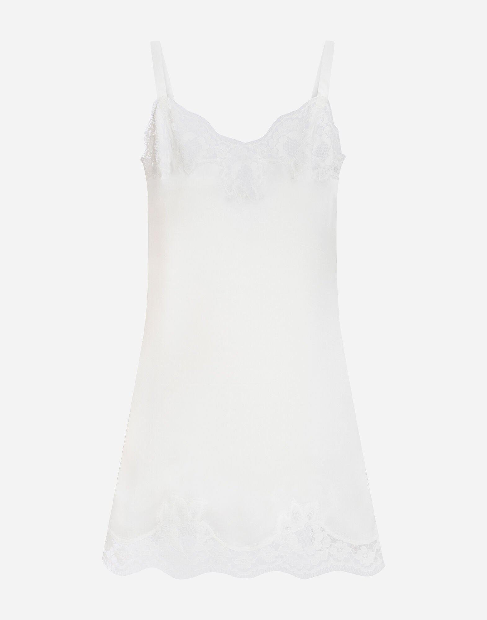 Slip dress in silk with embroidery
