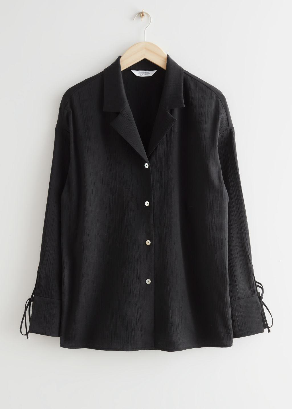 Relaxed Cuff Tie Blouse