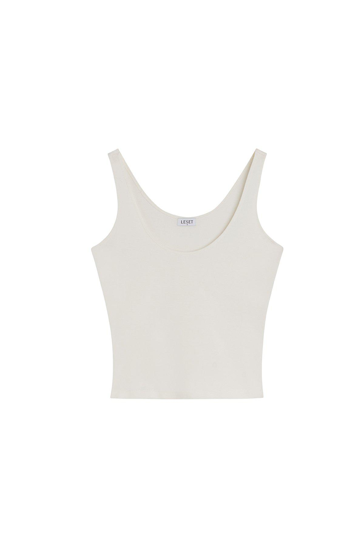 Rio Fitted Scoop Neck Tank - Natural 4