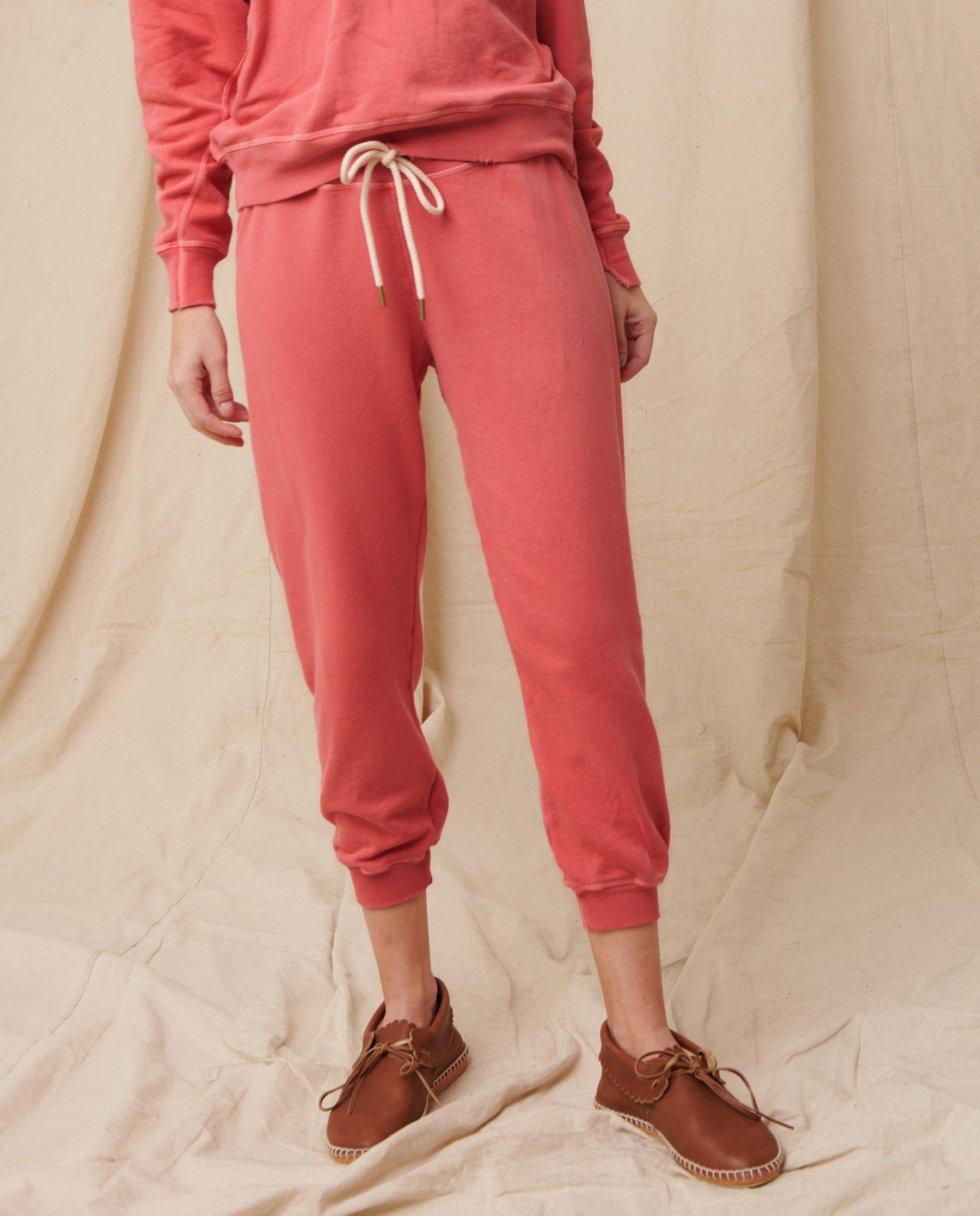 The Cropped Sweatpant. Solid -- Coral