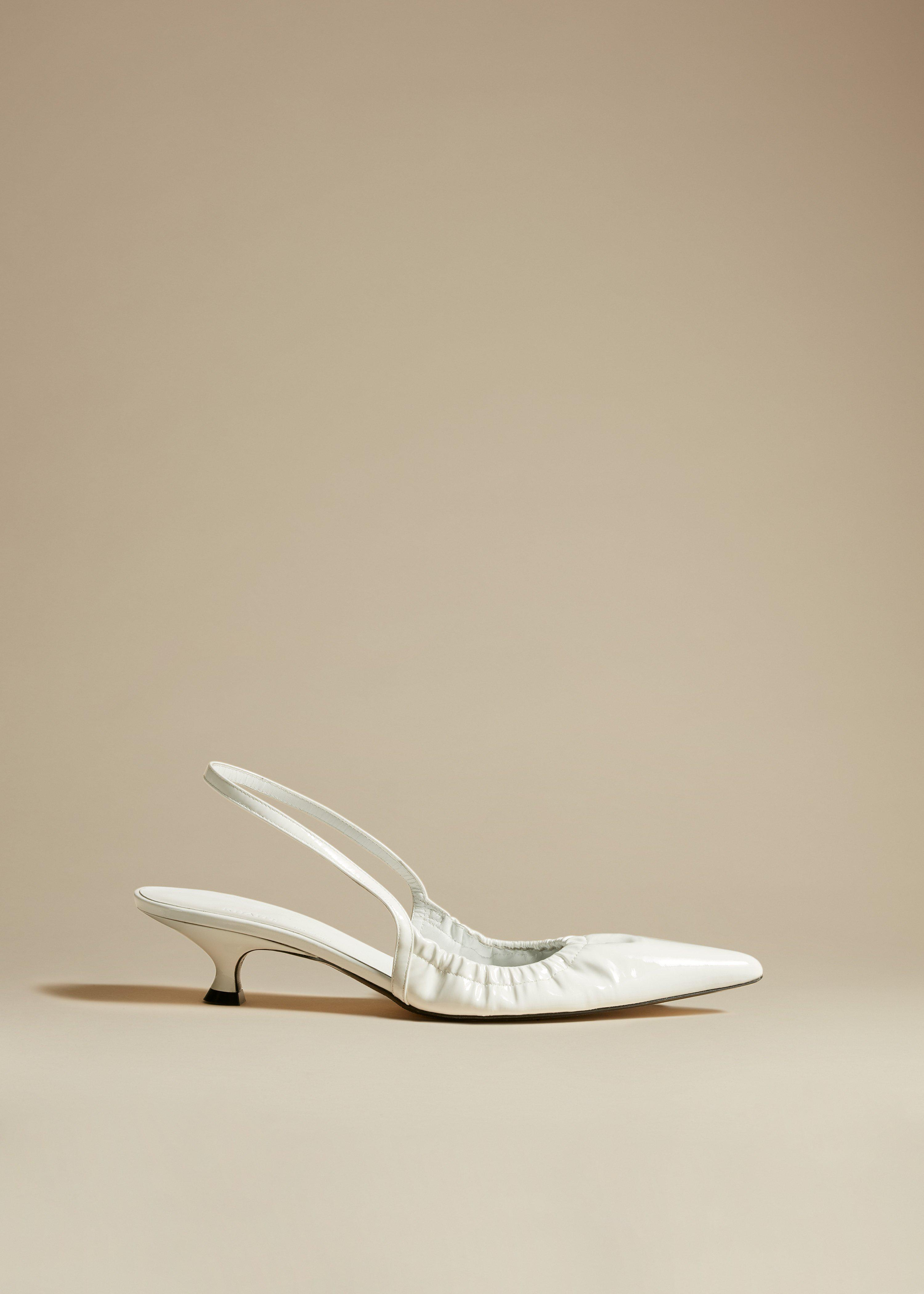 The Athens Pump in White Patent Leather