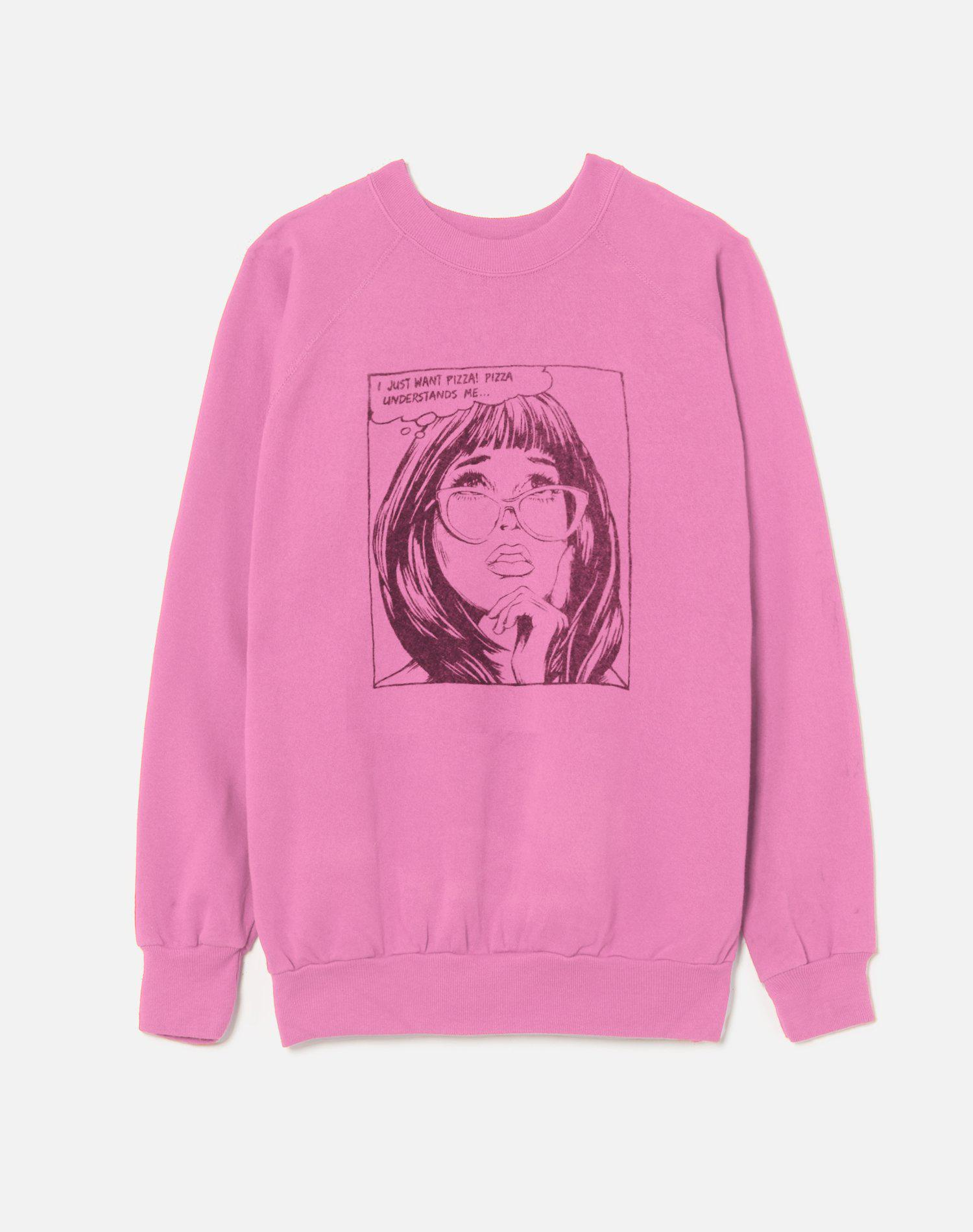 """Upcycled """"I Just Want Pizza"""" Sweatshirt - Pink"""