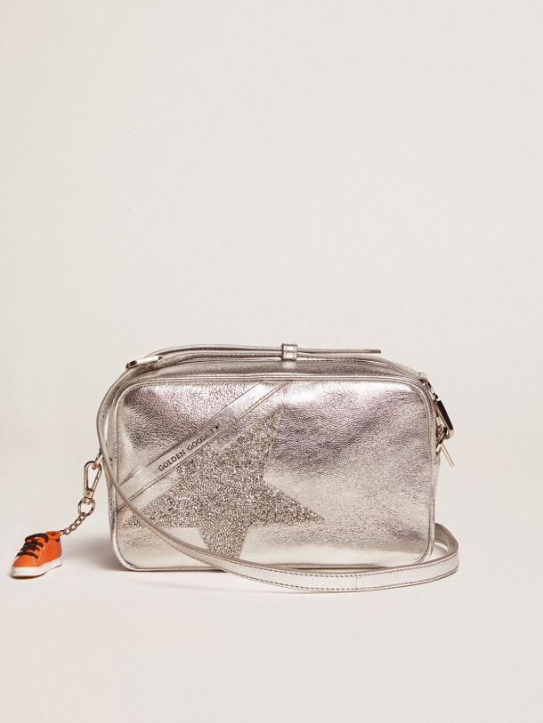 Silver Star Bag made of laminated leather with Swarovski star