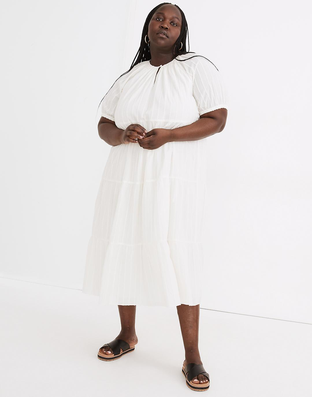 Plus Bubble-Sleeve Tiered Midi Dress in Textural Stripe