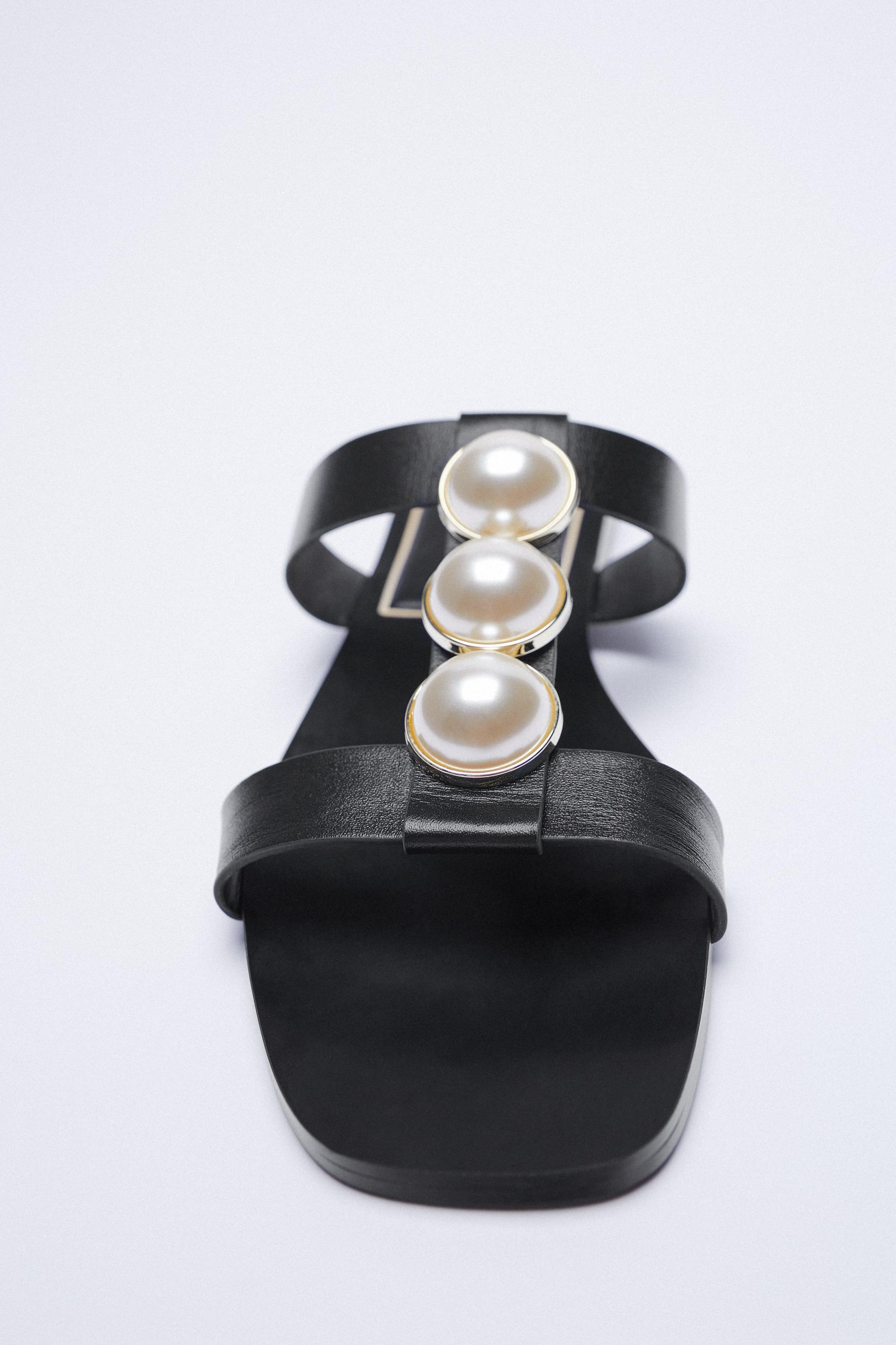 LOW HEEL LEATHER SANDALS WITH PEARL STRAPS 1