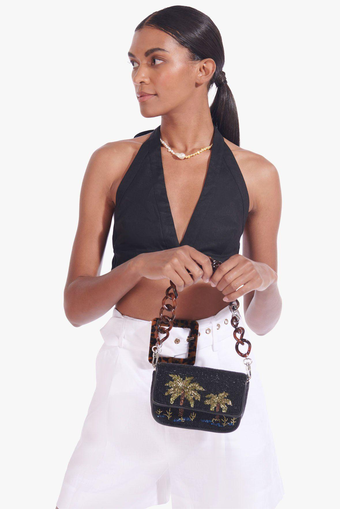 MINI TOMMY BEADED CHAIN BAG | PALM 1