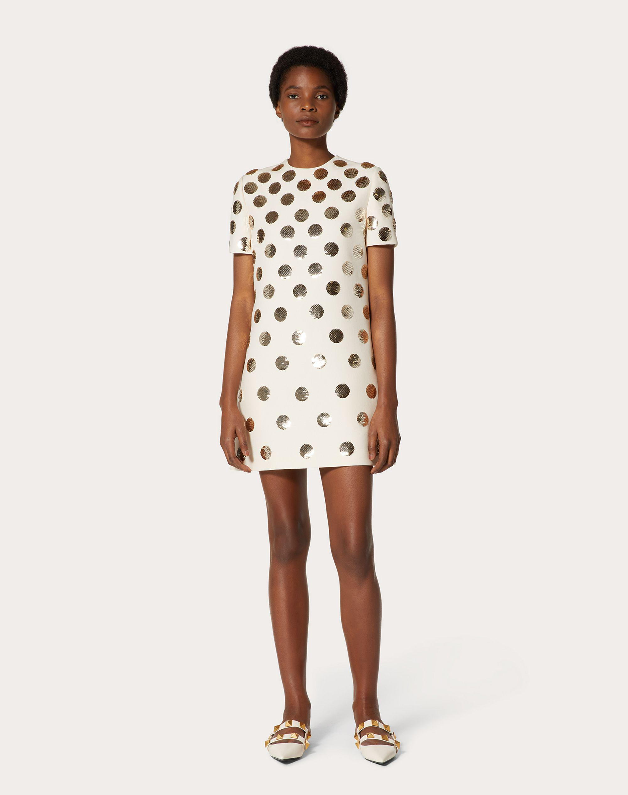 SHORT EMBROIDERED CREPE COUTURE DRESS 1