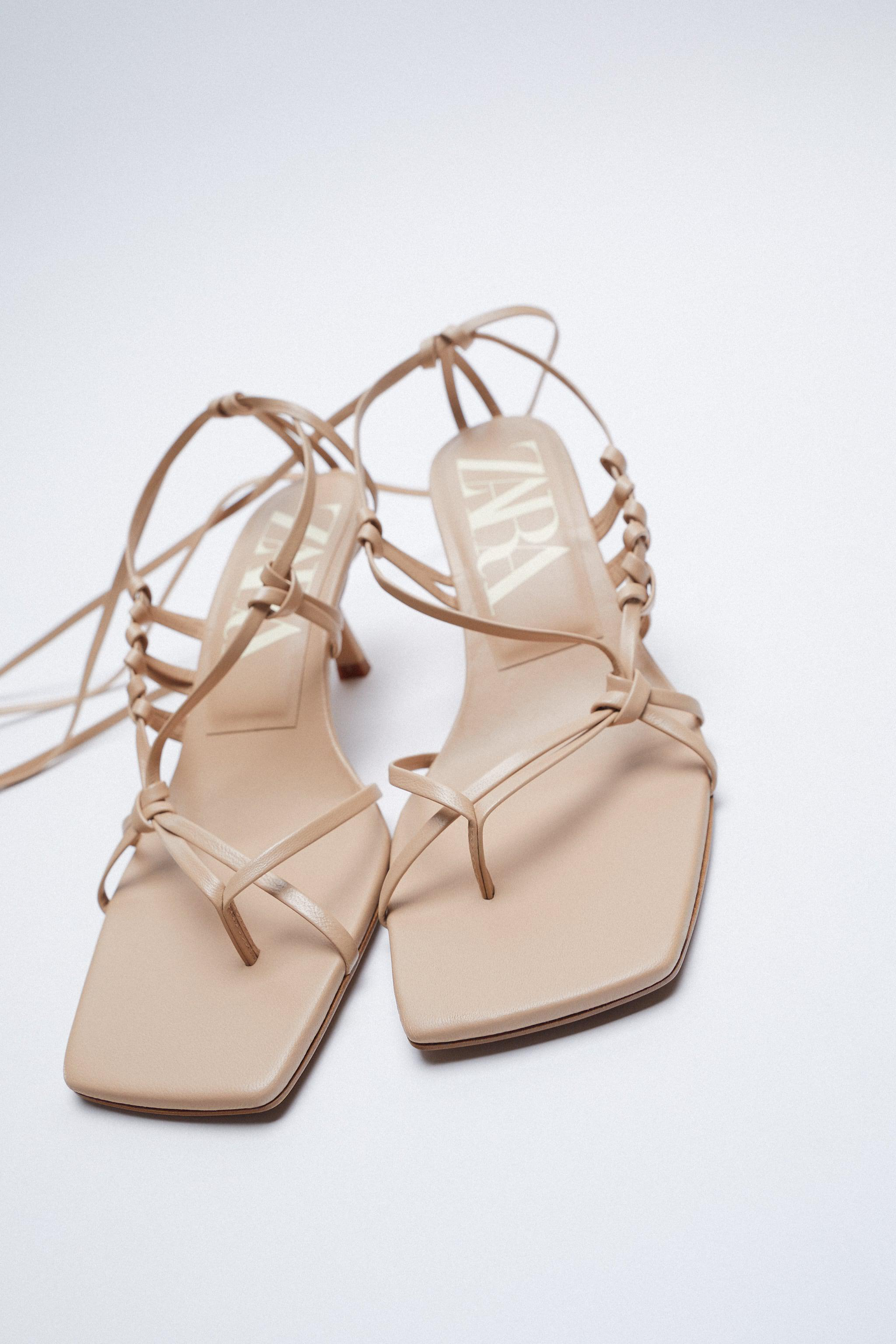 HEELED STRAPPY LEATHER SANDALS 4