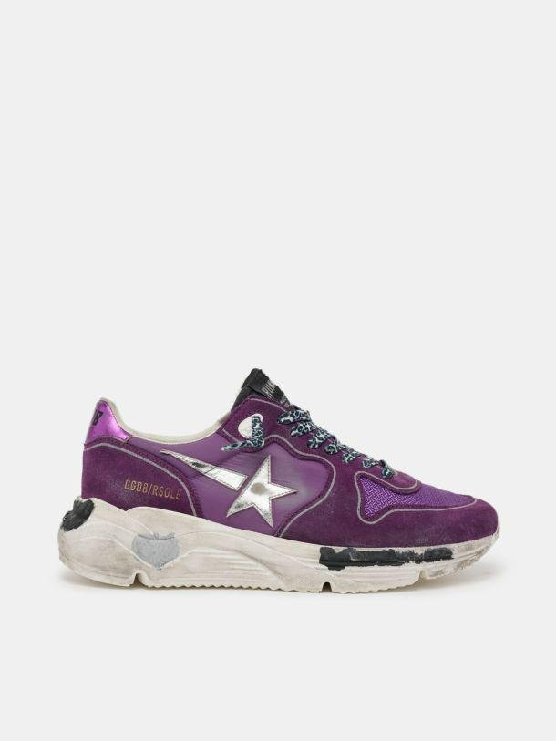 Suede, leather and mesh Running Sole sneakers with metallic purple heel tab 0