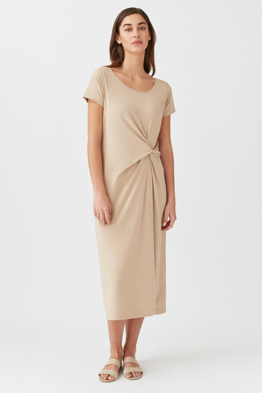 Women's Gathered Front Tee Dress in Dune | Size: Small | Pima Modal Spandex Blend by Cuyana 1