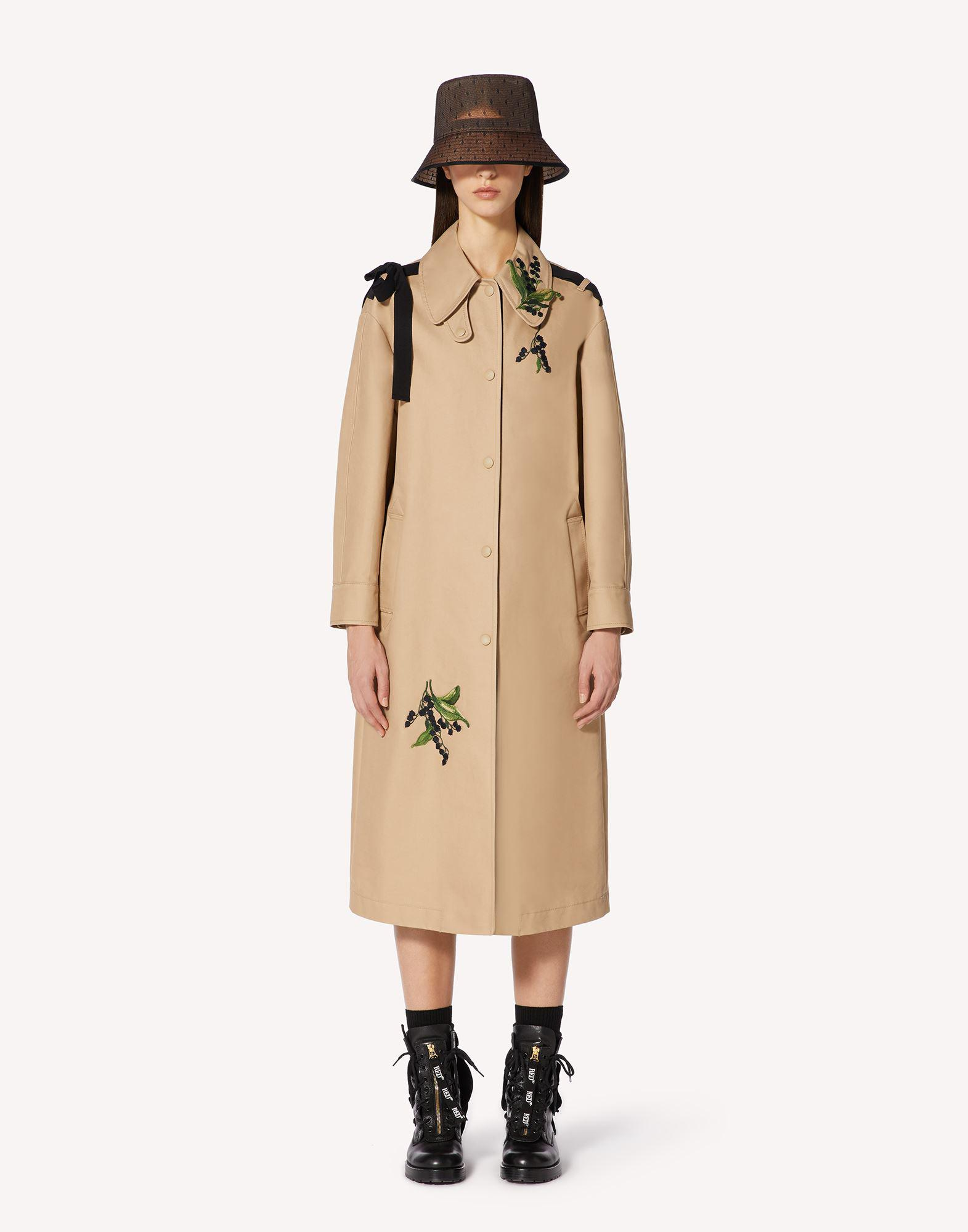 MAY LILY EMBROIDERED TRENCH COAT WITH BOW DETAIL