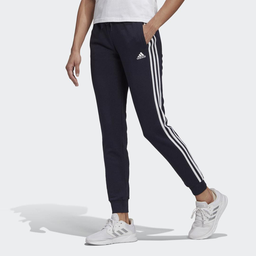 Essentials French Terry 3-Stripes Pants Dark Blue