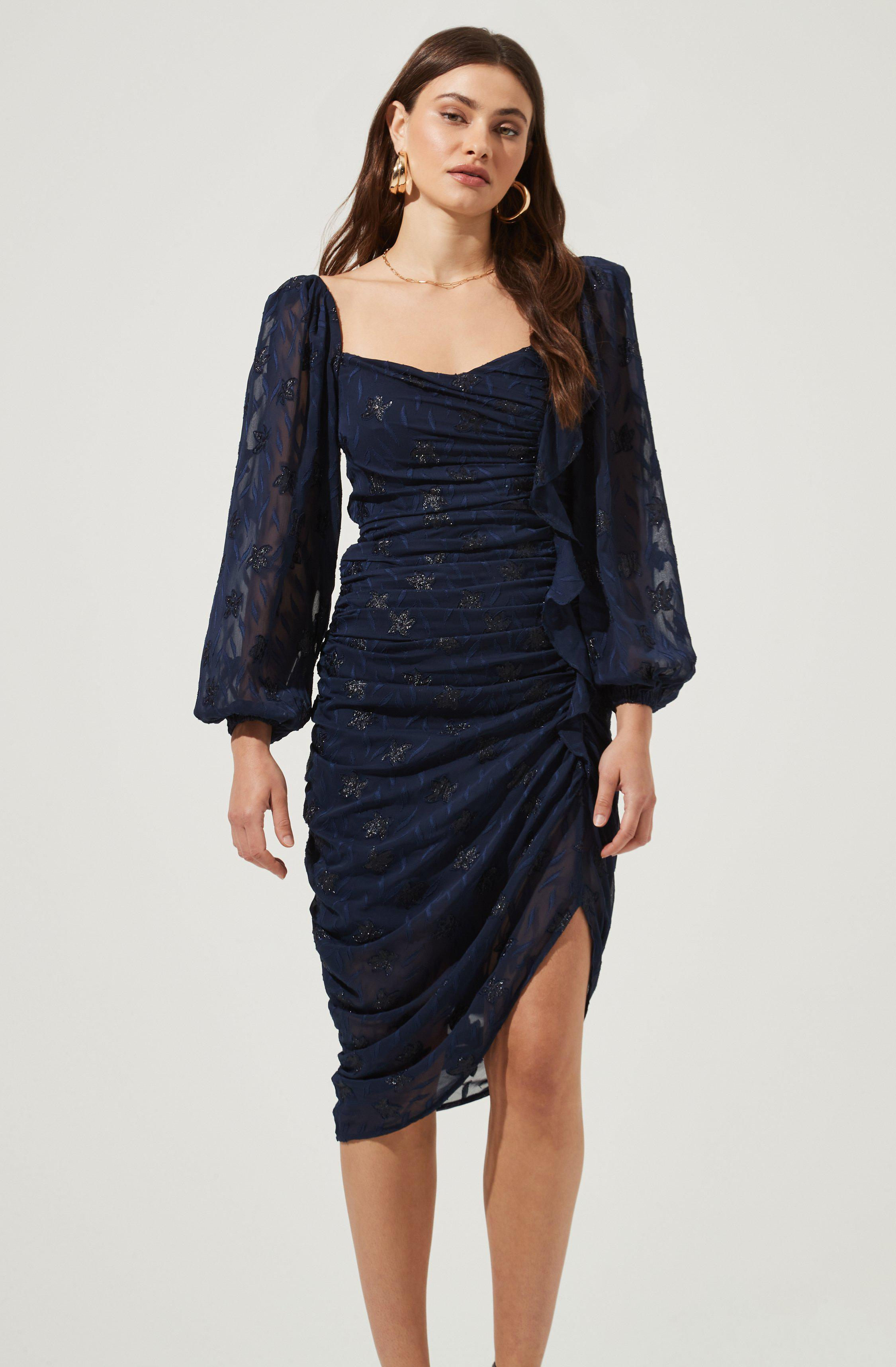 Athens Ruched Puff Sleeve Burnout Midi Dress