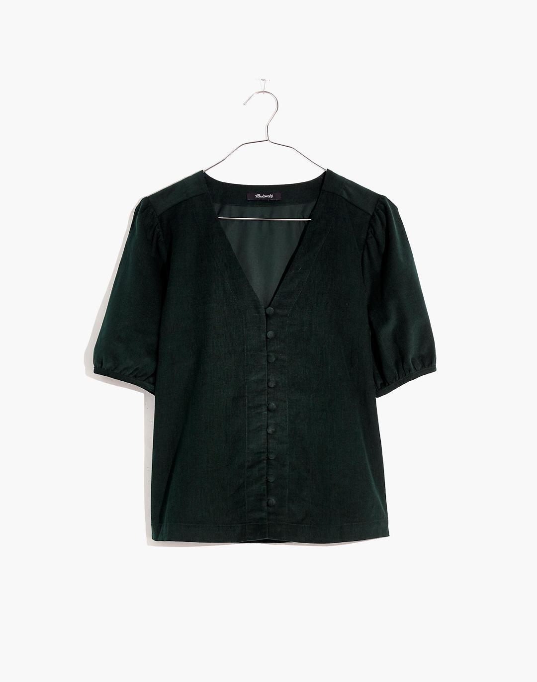 Corduroy Puff-Sleeve Button-Front Top 3