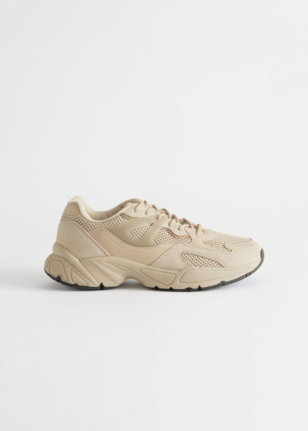 Chunky Leather Mesh Sneakers