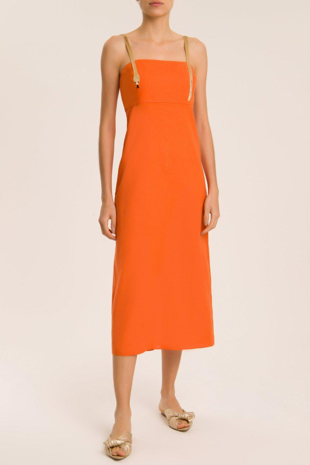 Solid Midi Dress With Golden Serpent Straps