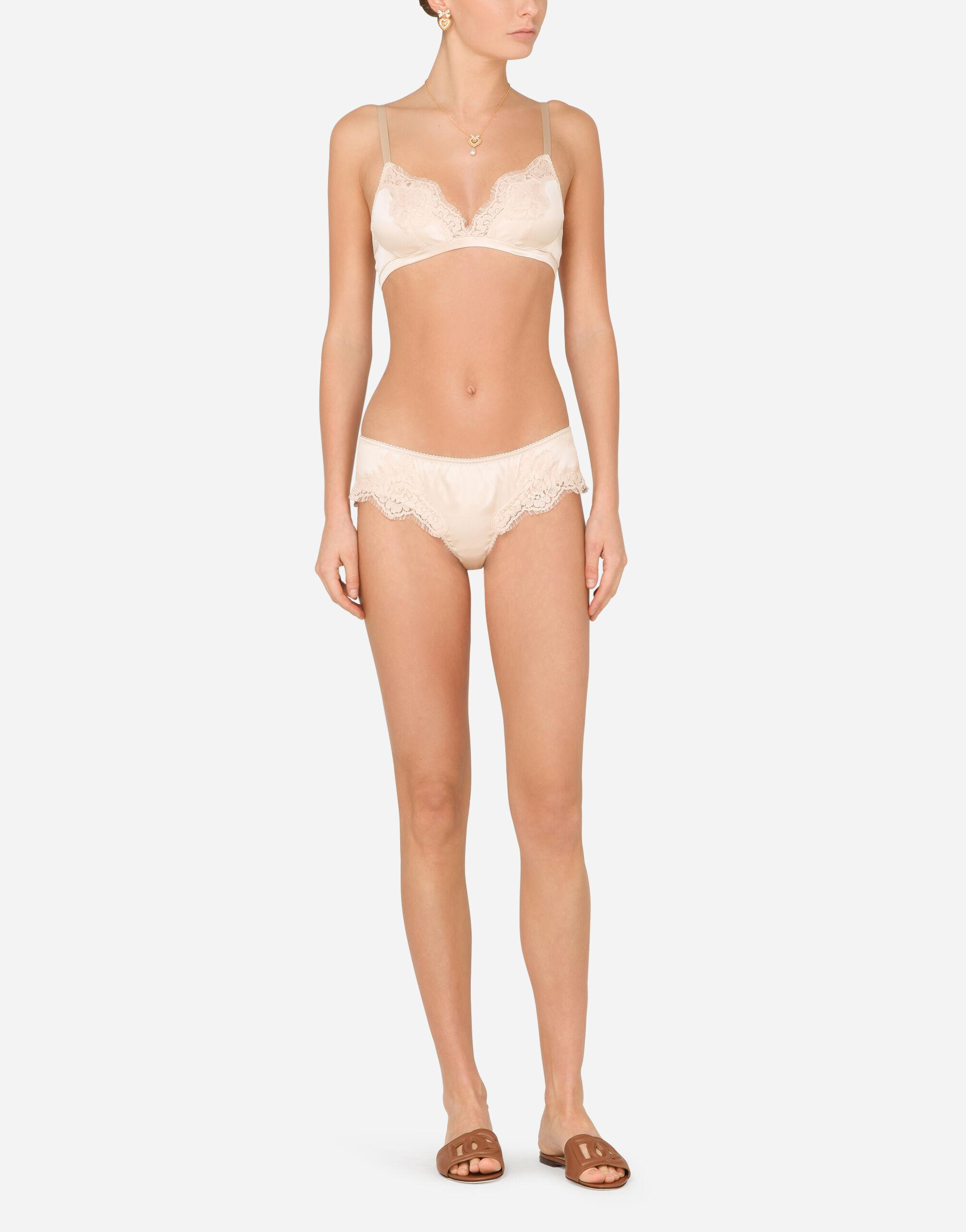Soft-cup satin bra with lace detailing