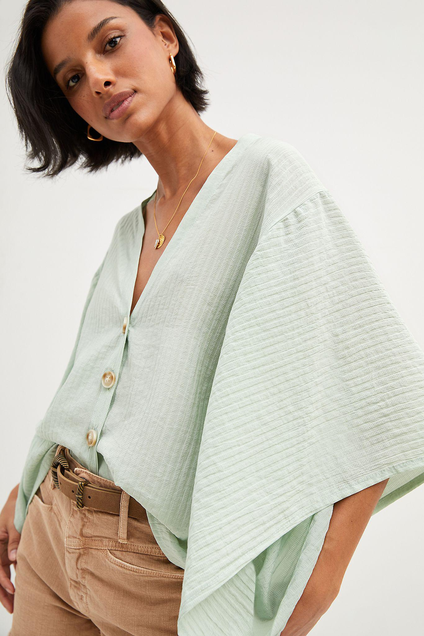 Airy Button-Front Poncho