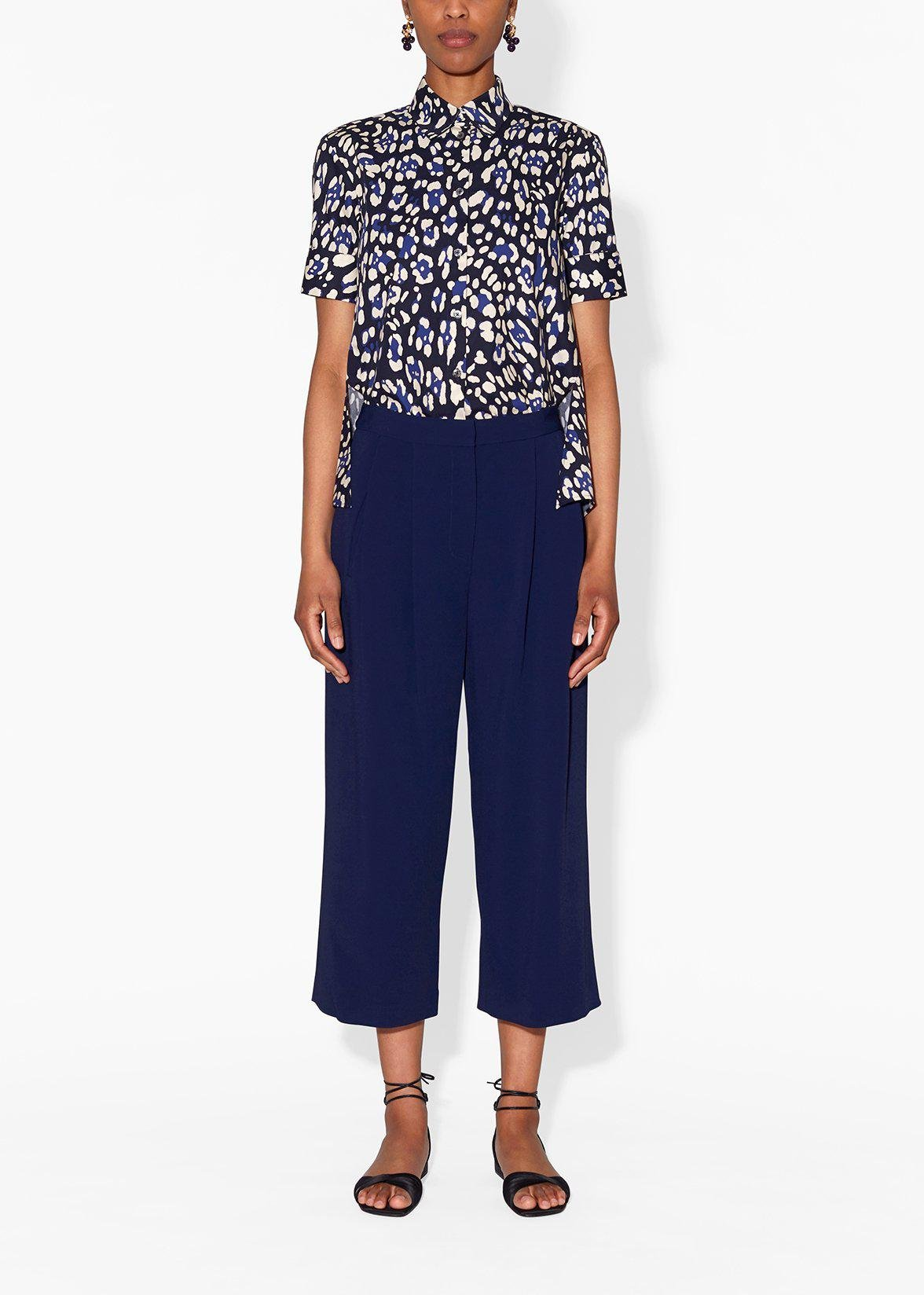 PLEAT FRONT CULOTTE IN STRETCH CADY