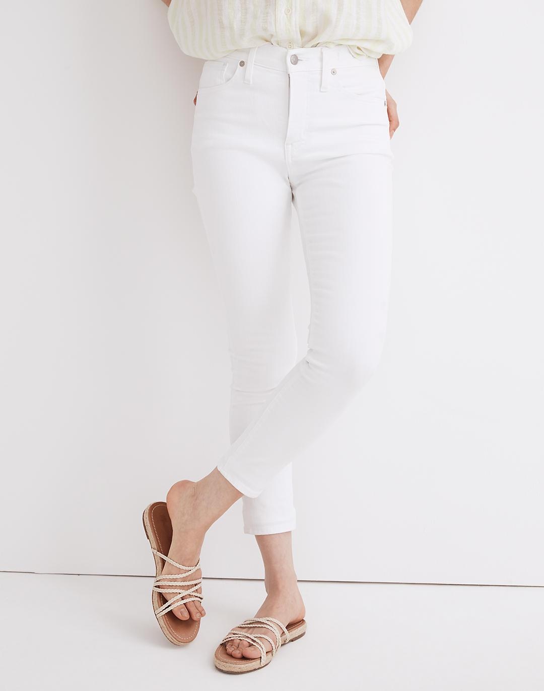 """9"""" Mid-Rise Skinny Crop Jeans in Pure White 3"""