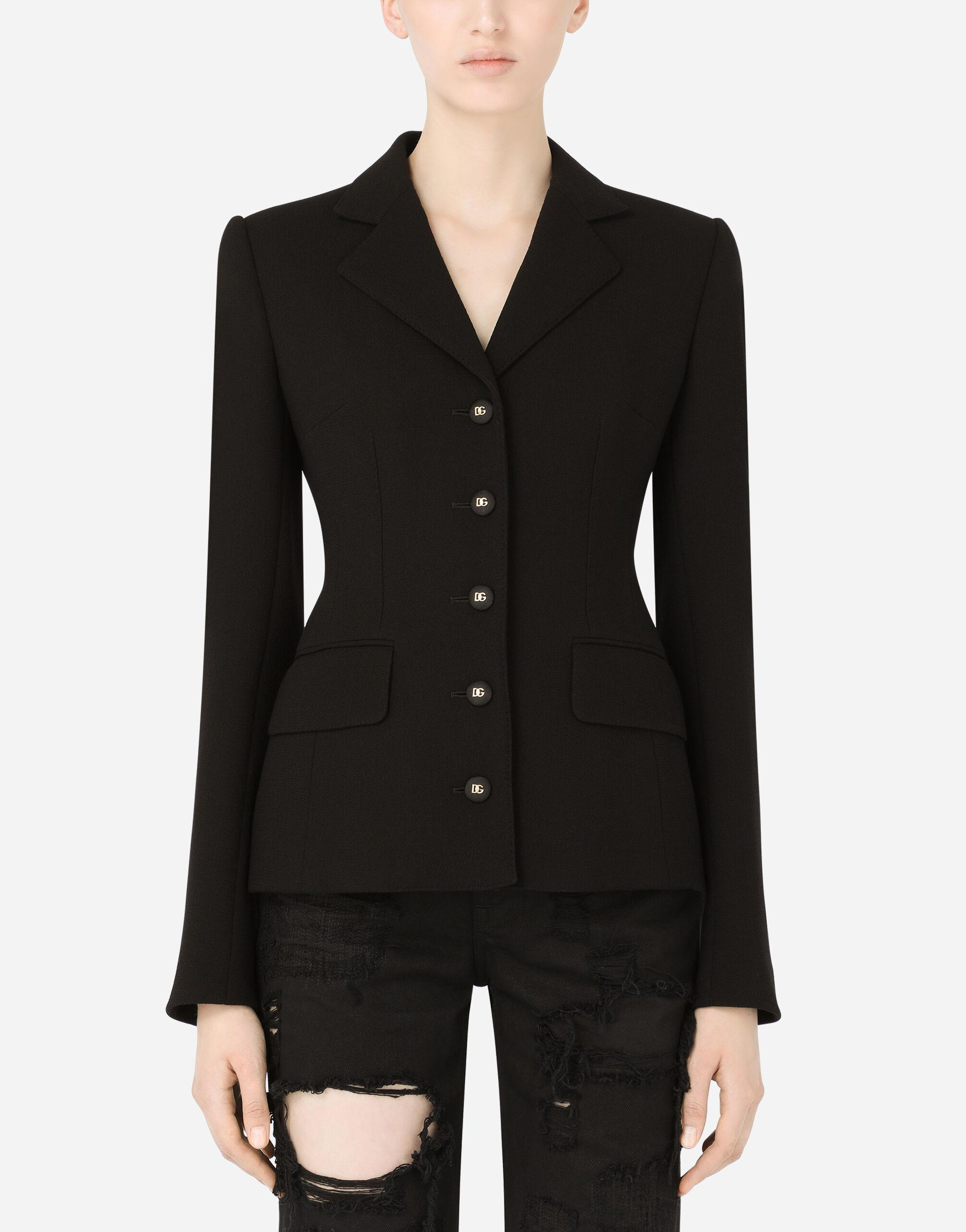 Single-breasted wool crepe Dolce jacket with DG buttons