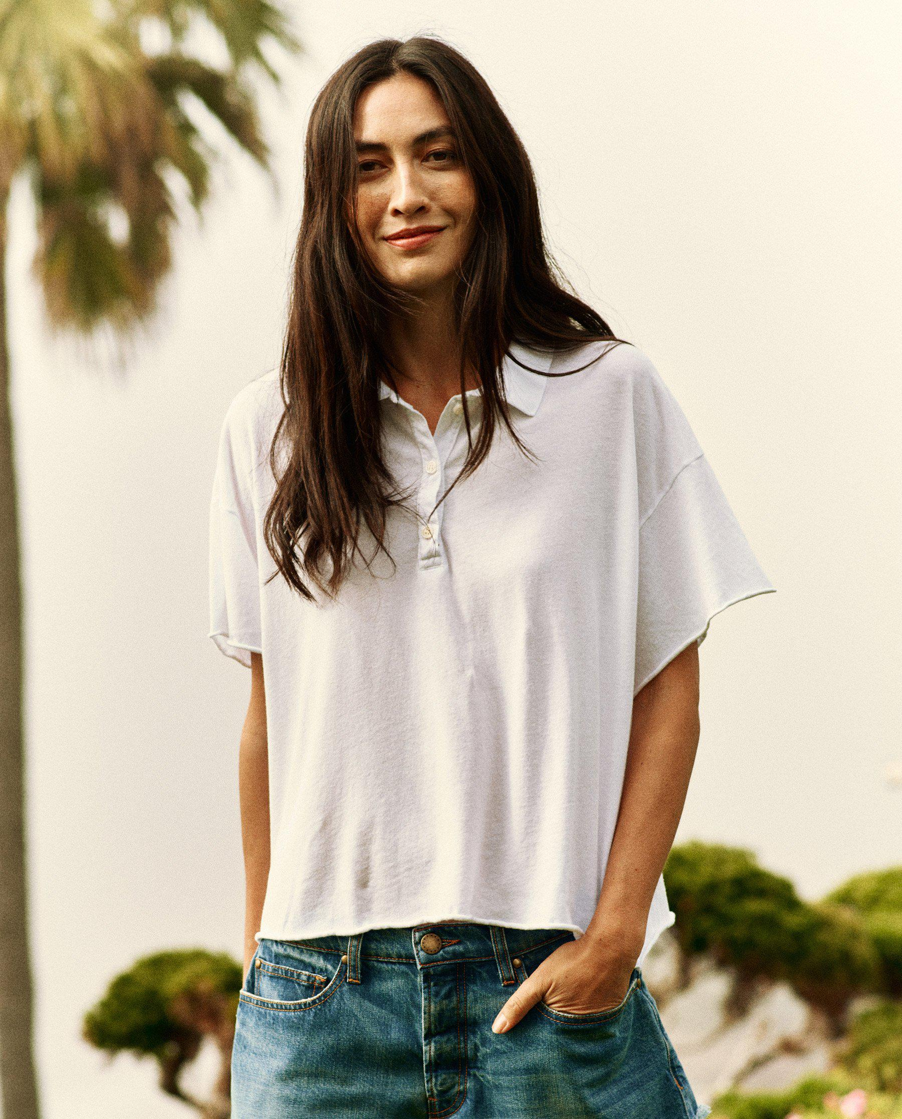 The Cropped Polo Tee. -- True White 2