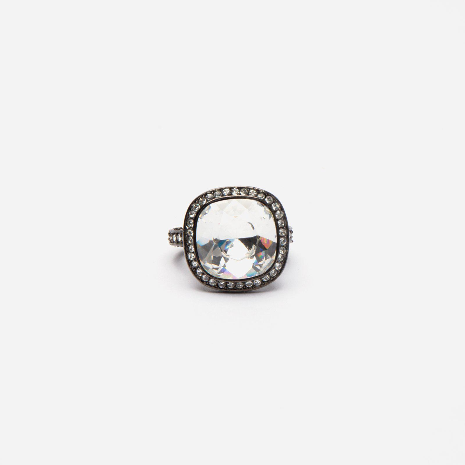Crystal Cocktail Ring Silver