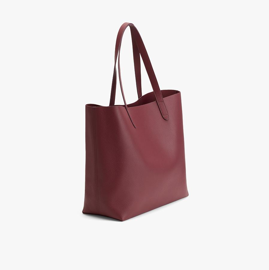 Women's Classic Leather Tote Bag in Merlot Painted   Pebbled Leather by Cuyana 1